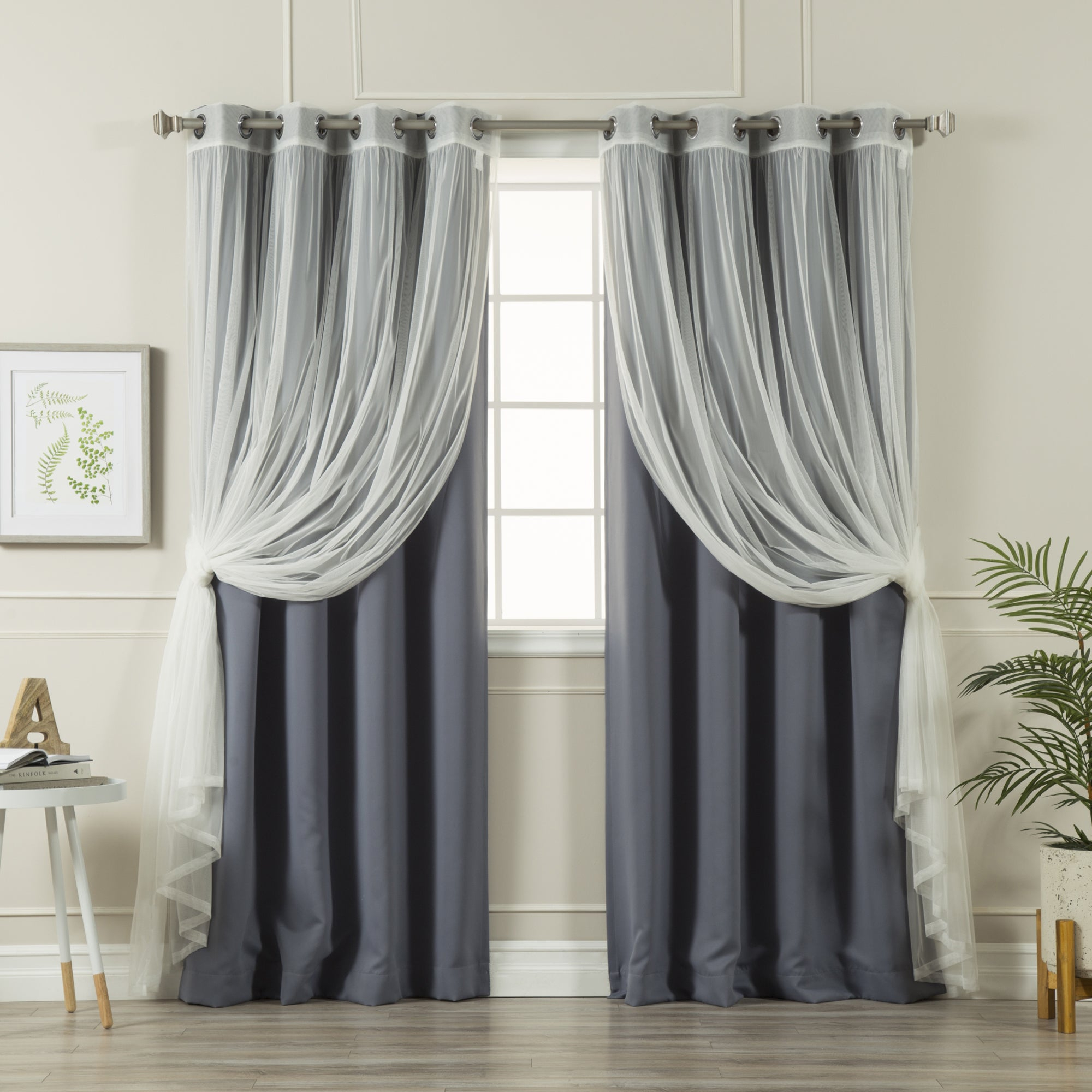 Aurora Home Mix And Match Blackout Tulle Lace Sheer 4 Piece Curtain Panel Set With Regard To Mix And Match Blackout Blackout Curtains Panel Sets (View 6 of 20)