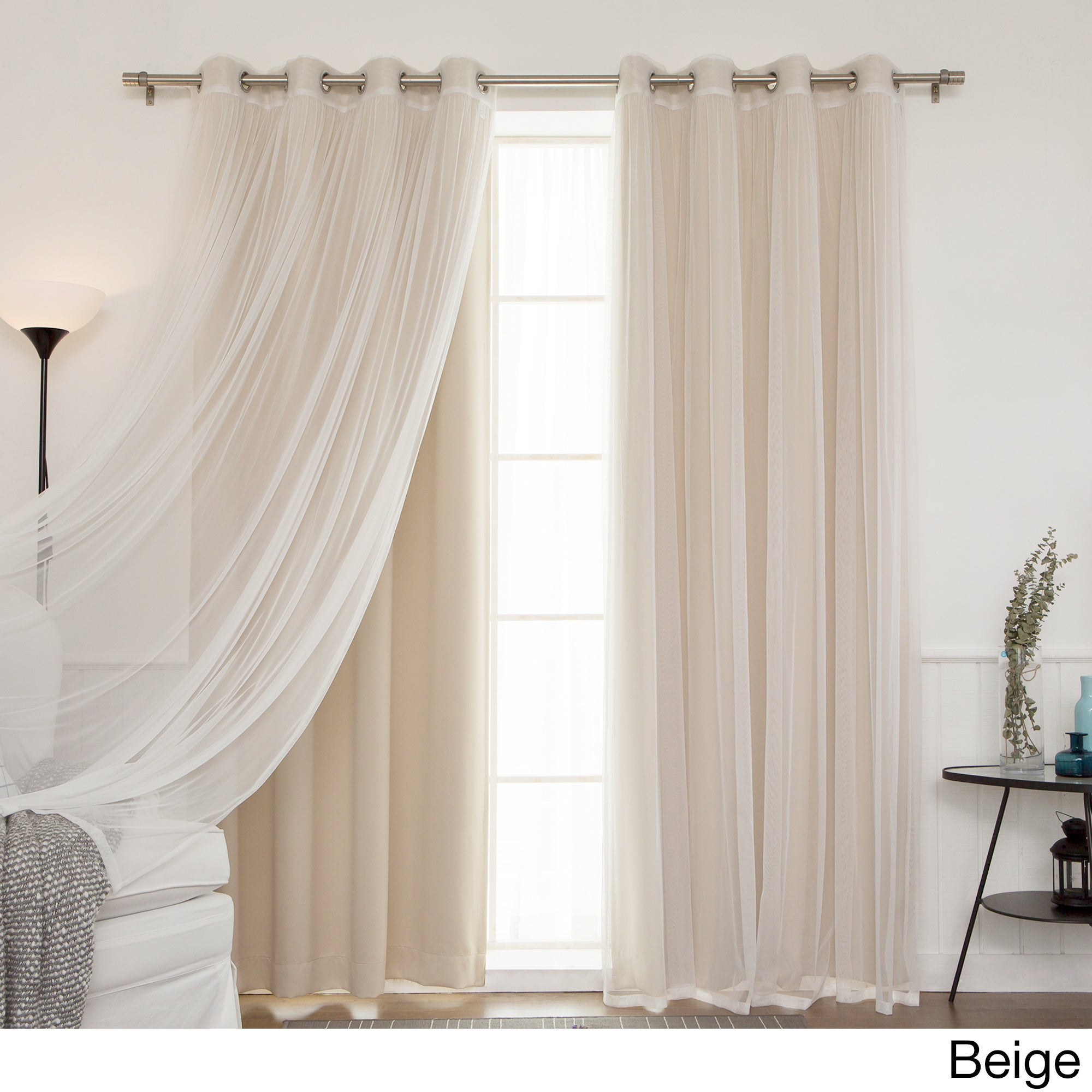 Aurora Home Mix And Match Blackout Tulle Lace Sheer 4 Piece Curtain Panel Set Within Mix And Match Blackout Tulle Lace Sheer Curtain Panel Sets (View 2 of 20)