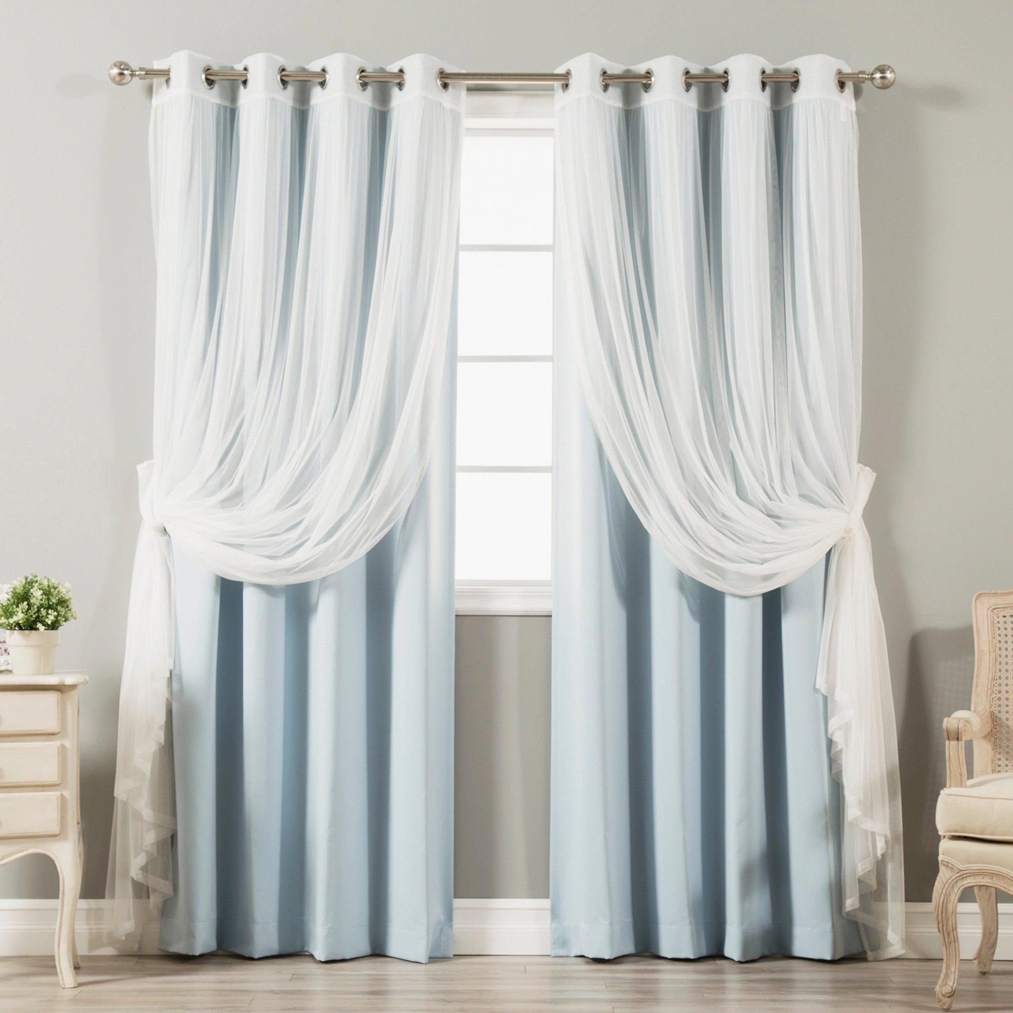 Aurora Home Mix And Match Blackout Tulle Lace Sheer 4 Piece For Mix And Match Blackout Tulle Lace Sheer Curtain Panel Sets (View 15 of 20)
