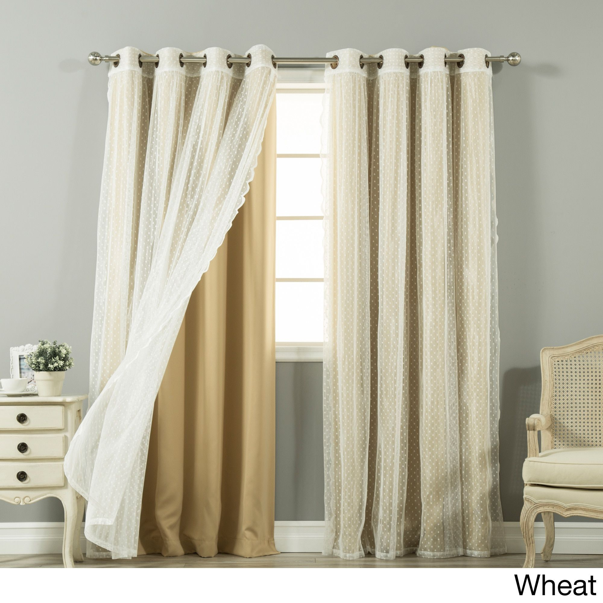 Aurora Home Mix And Match Curtains Blackout And Dot Sheer 84 In Tulle Sheer With Attached Valance And Blackout 4 Piece Curtain Panel Pairs (View 18 of 30)