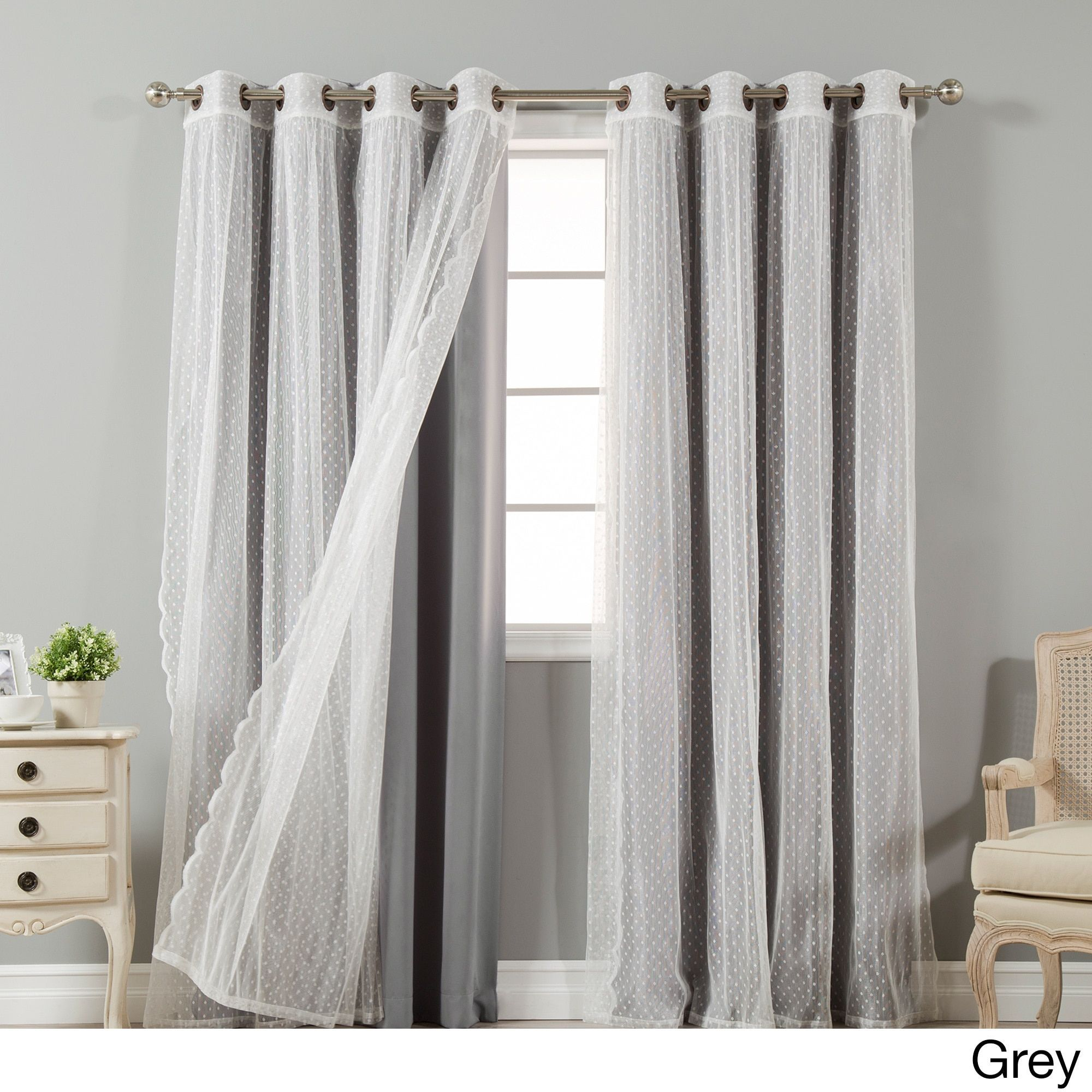 Aurora Home Mix And Match Curtains Blackout And Dot Sheer 84 In Tulle Sheer With Attached Valance And Blackout 4 Piece Curtain Panel Pairs (View 8 of 30)