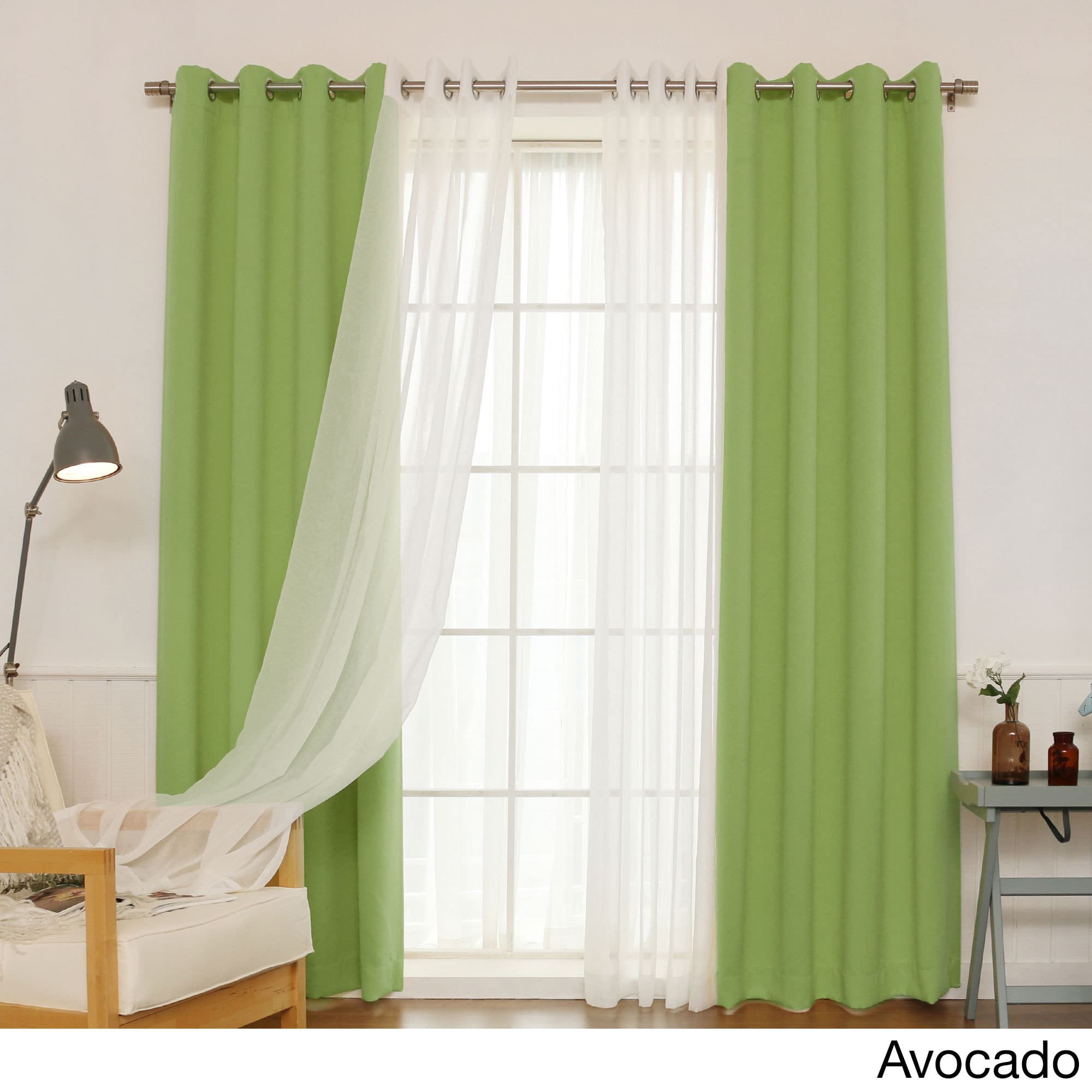 """Aurora Home Mix & Match Blackout And Muji Sheer 4 Piece Curtain Panel Set – 52""""w X 84""""l Pertaining To Mix And Match Blackout Blackout Curtains Panel Sets (View 14 of 20)"""
