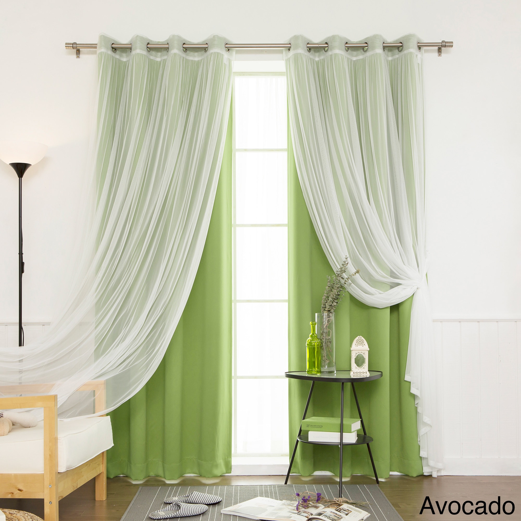 Aurora Home Mix & Match Blackout And Sheer Tulle Lace 4 Piece Curtain Panel Set Throughout Mix And Match Blackout Tulle Lace Sheer Curtain Panel Sets (View 14 of 20)