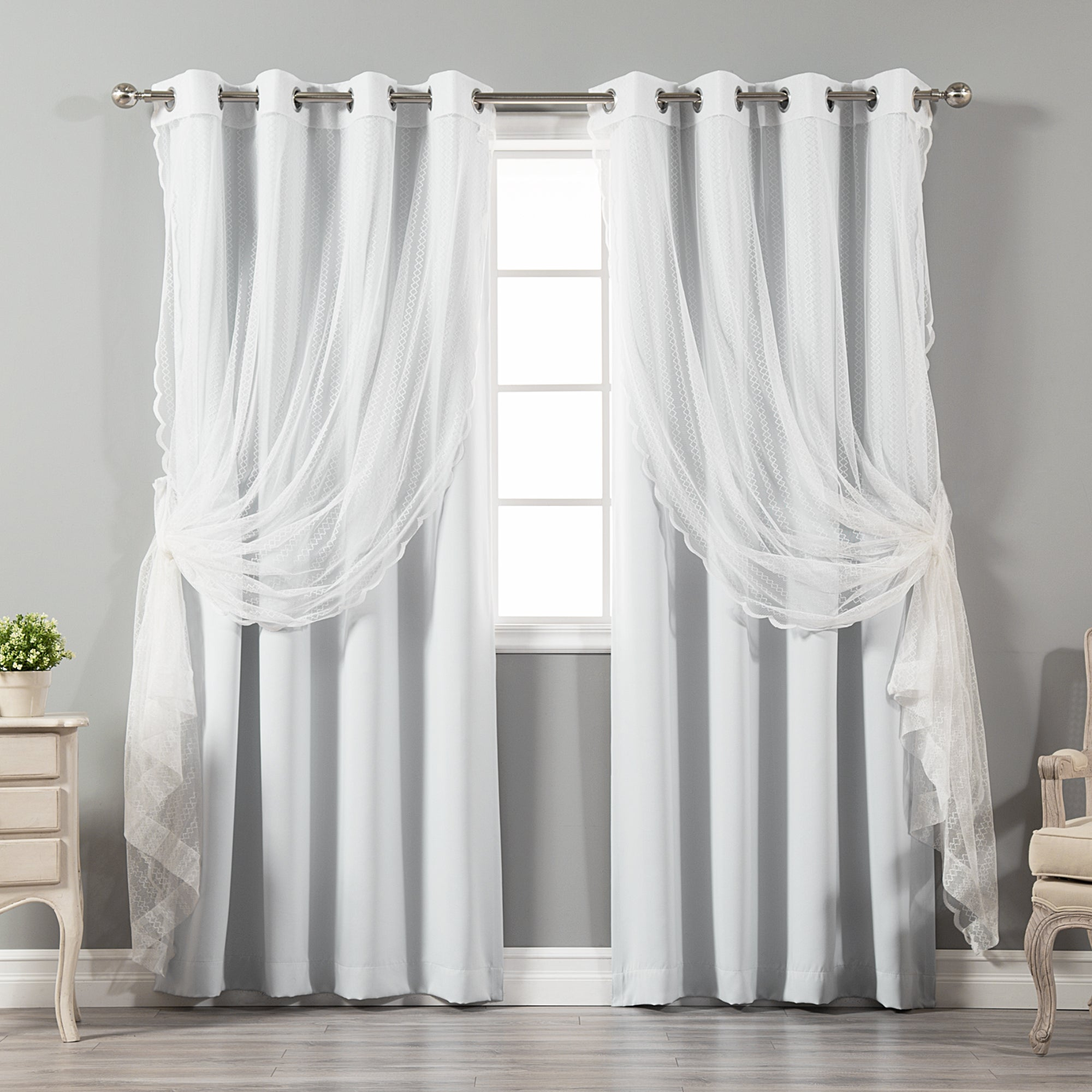 Aurora Home Mix & Match Blackout And Zigzag Lace 4 Piece Curtain Panel Set For Mix And Match Blackout Blackout Curtains Panel Sets (View 9 of 20)