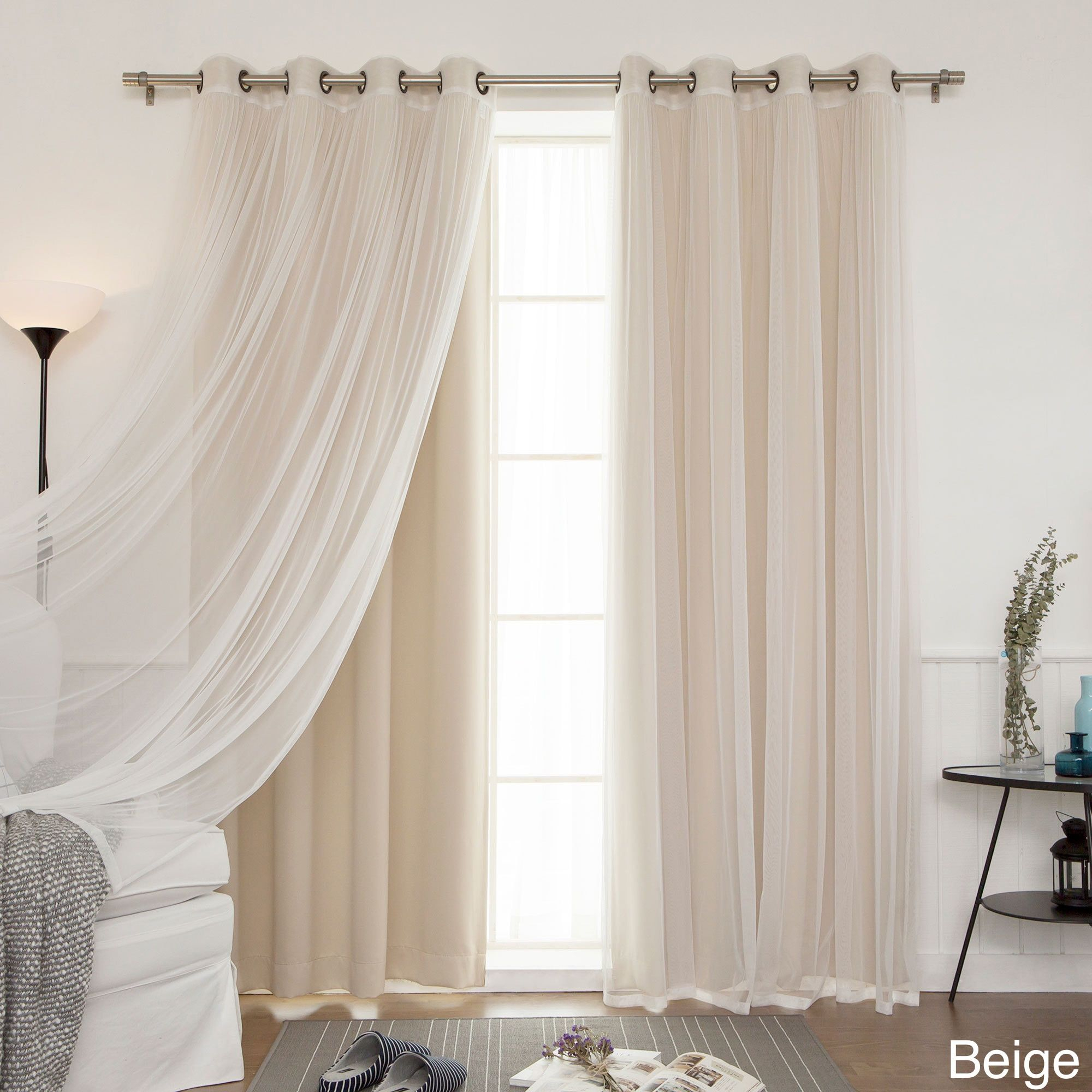 Aurora Home Mix & Match Blackout Tulle Lace Bronze Grommet 4 For Luxury Collection Cranston Sheer Curtain Panel Pairs (View 13 of 20)