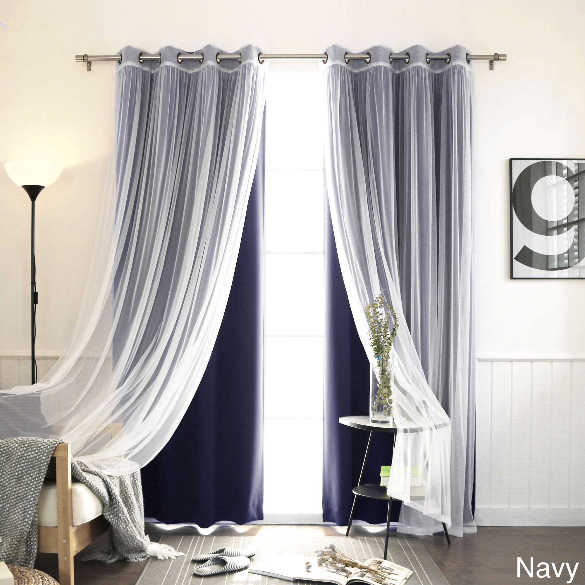 Aurora Home Mix & Match Blackout Tulle Lace Bronze Grommet 4 Intended For Mix And Match Blackout Blackout Curtains Panel Sets (View 11 of 20)