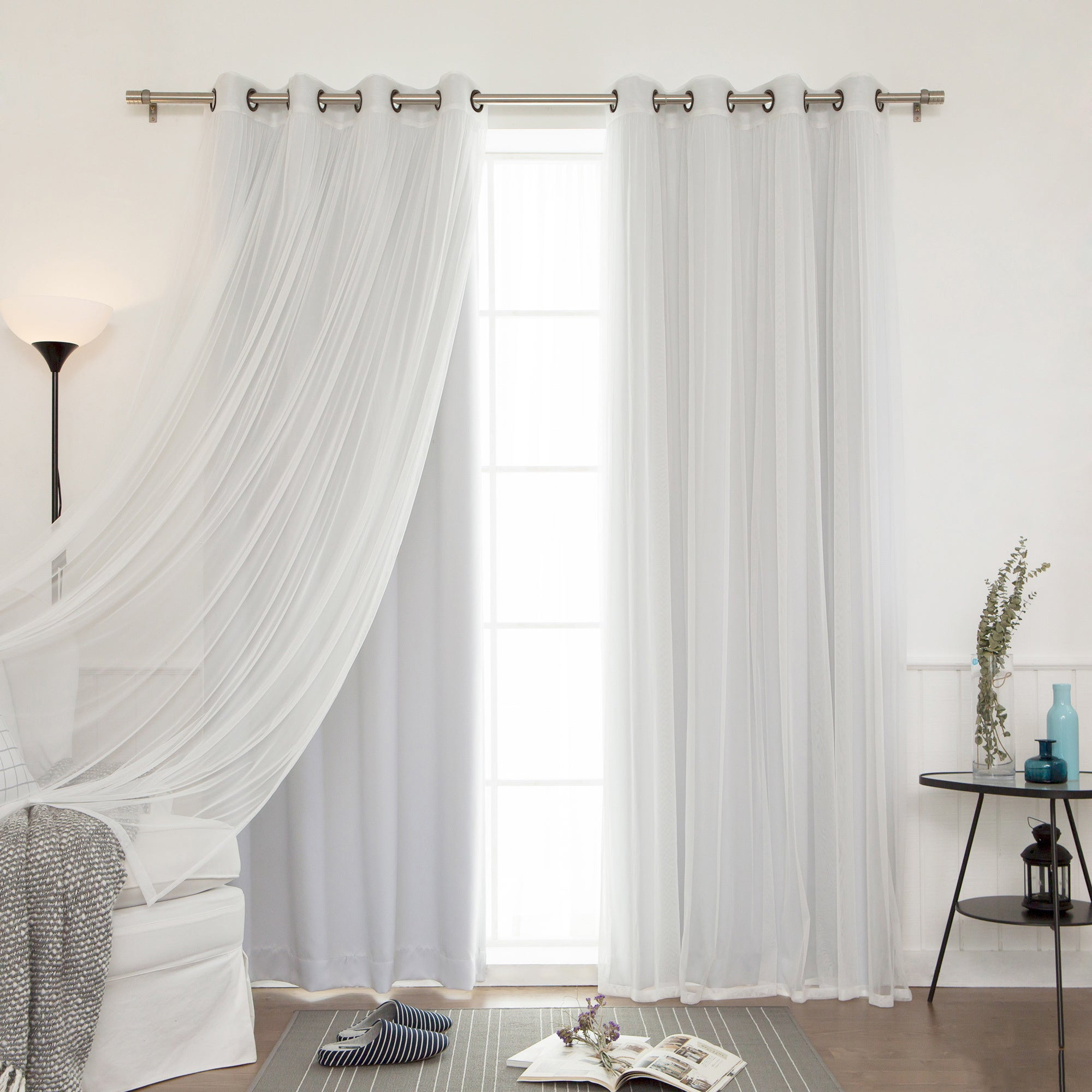Aurora Home Mix & Match Blackout Tulle Lace Bronze Grommet 4 Piece Curtain  Panel Set in Mix & Match Blackout Tulle Lace Bronze Grommet Curtain Panel Sets (Image 1 of 20)