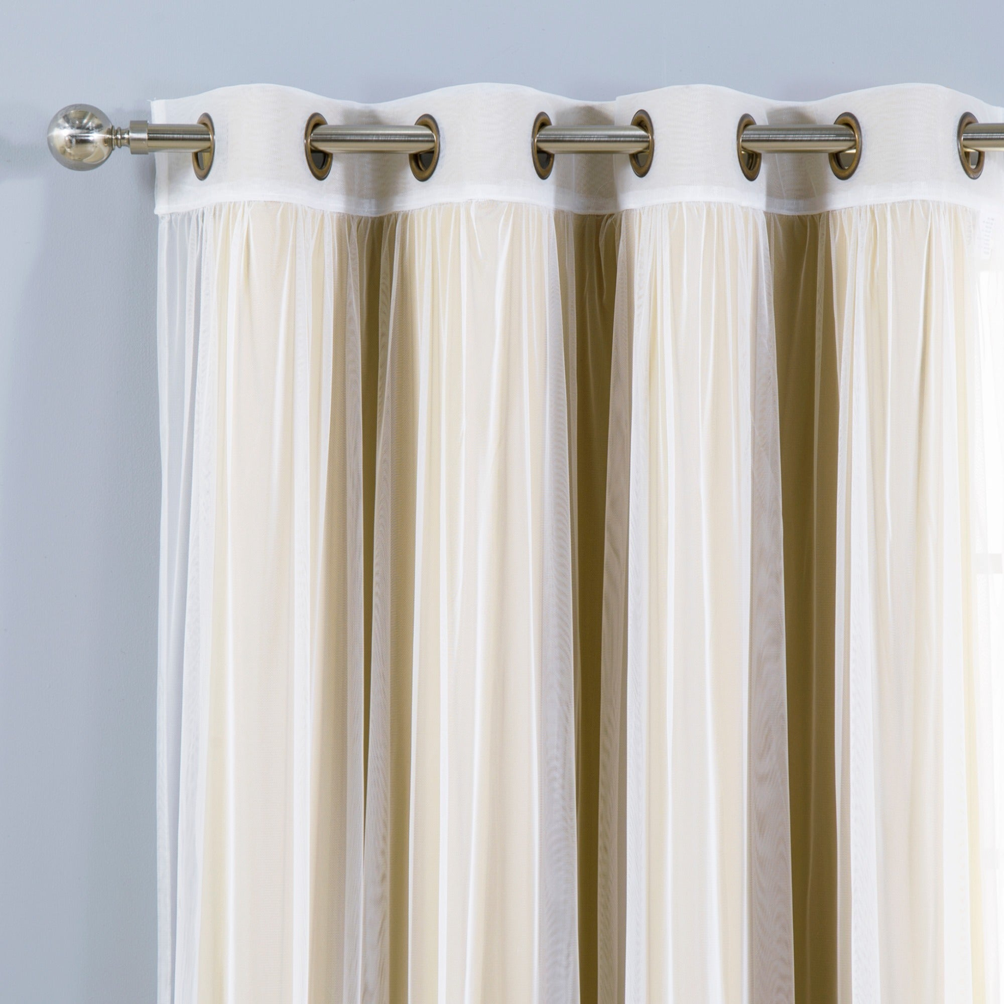 Aurora Home Mix & Match Blackout Tulle Lace Bronze Grommet 4 Piece Curtain  Panel Set with Mix & Match Blackout Tulle Lace Bronze Grommet Curtain Panel Sets (Image 4 of 20)