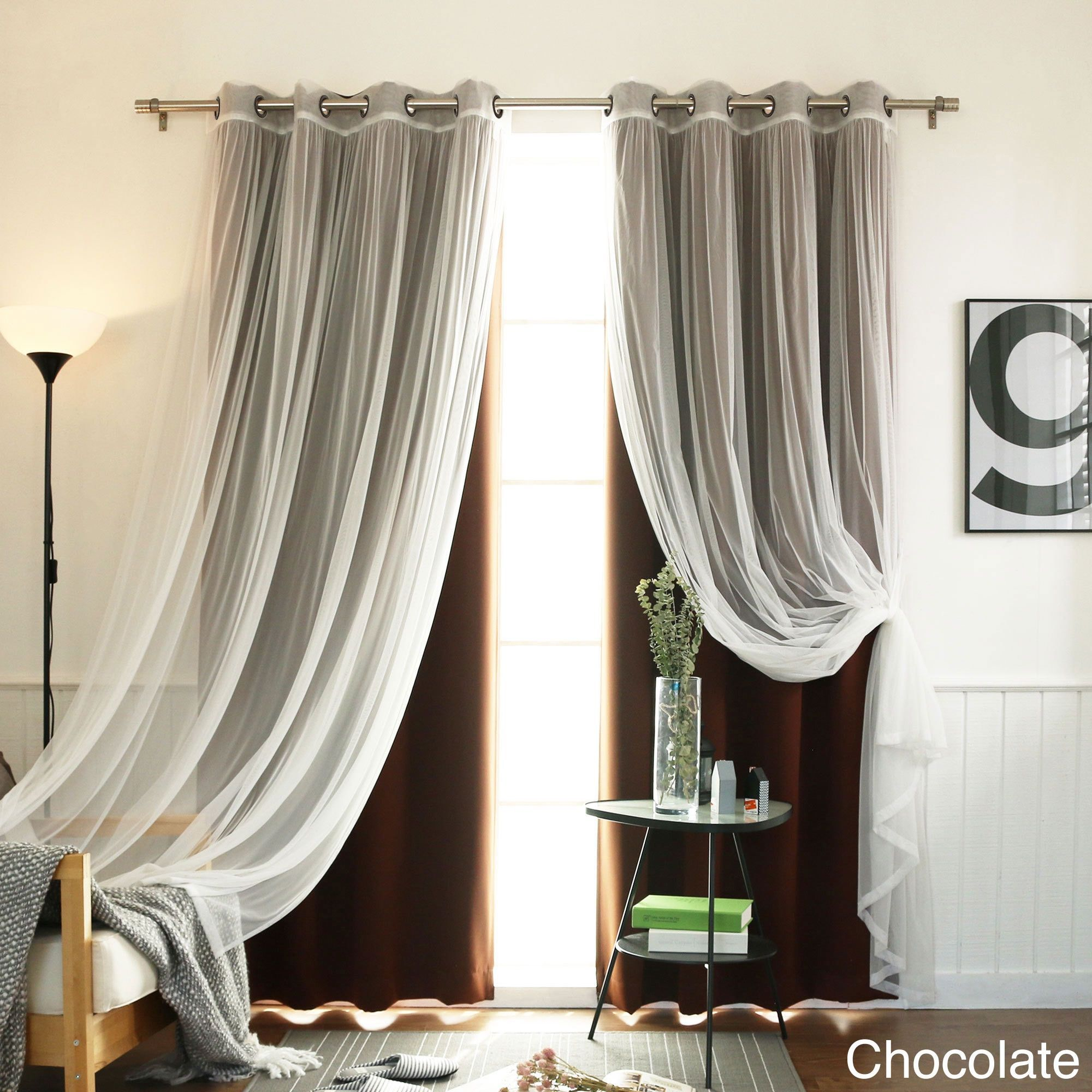 Aurora Home Mix & Match Blackout Tulle Lace Bronze Grommet 4 with regard to Mix & Match Blackout Tulle Lace Bronze Grommet Curtain Panel Sets (Image 8 of 20)