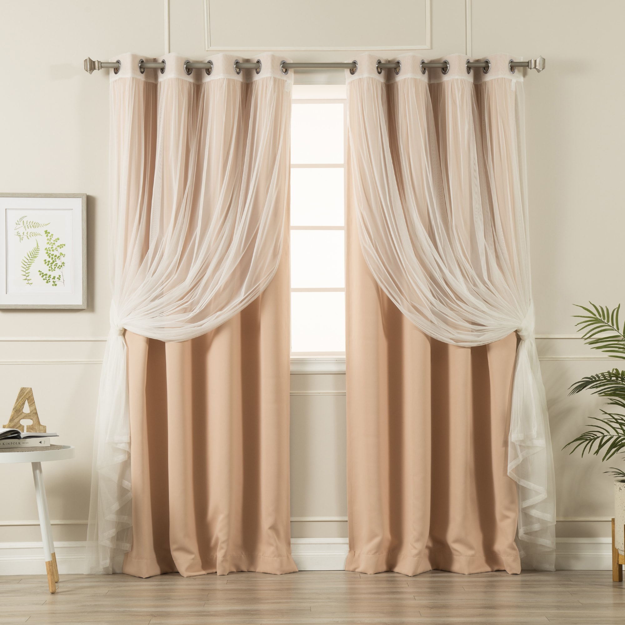 Aurora Home Mix & Match Curtains Blackout And Tulle Lace For Mix And Match Blackout Tulle Lace Sheer Curtain Panel Sets (View 4 of 20)