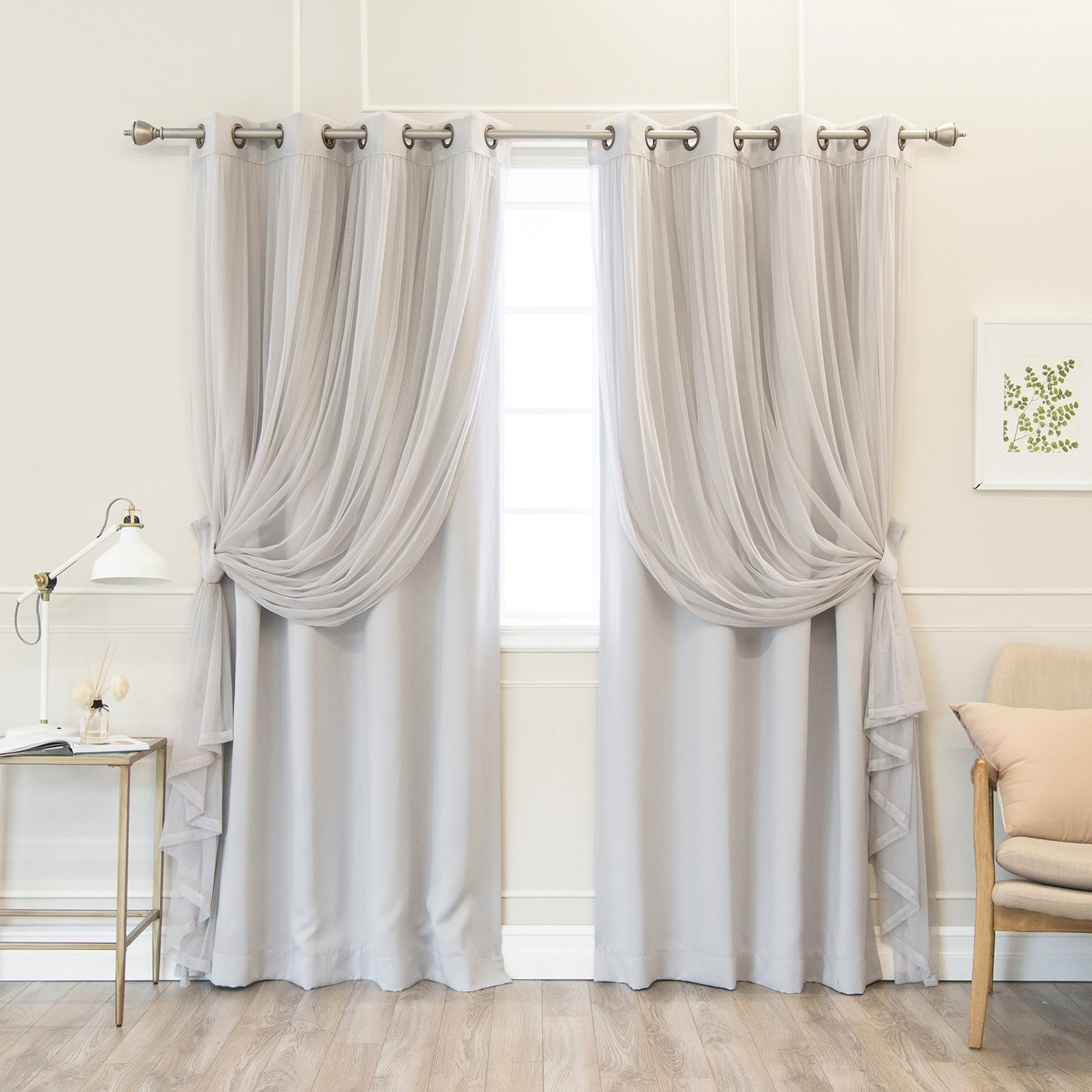 Aurora Home Mix & Match Pastel Tulle Blackout 4 Piece Curtain Panel Set – N/a Throughout Mix And Match Blackout Blackout Curtains Panel Sets (View 2 of 20)