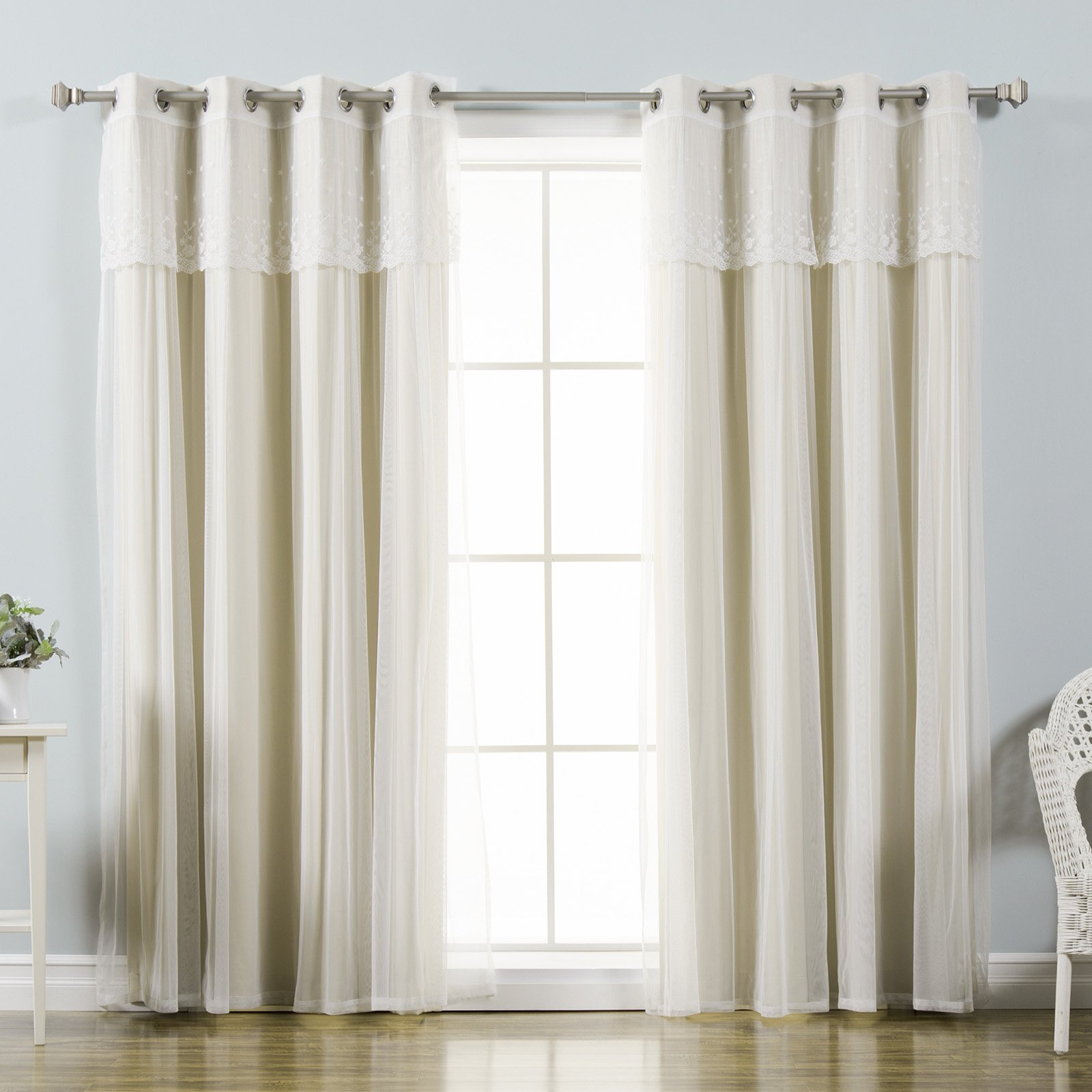 Aurora Home Mix & Match Tulle Sheer With Attached Valance And Blackout 4 Piece Curtain Panel Pair Inside Tulle Sheer With Attached Valance And Blackout 4 Piece Curtain Panel Pairs (View 14 of 30)