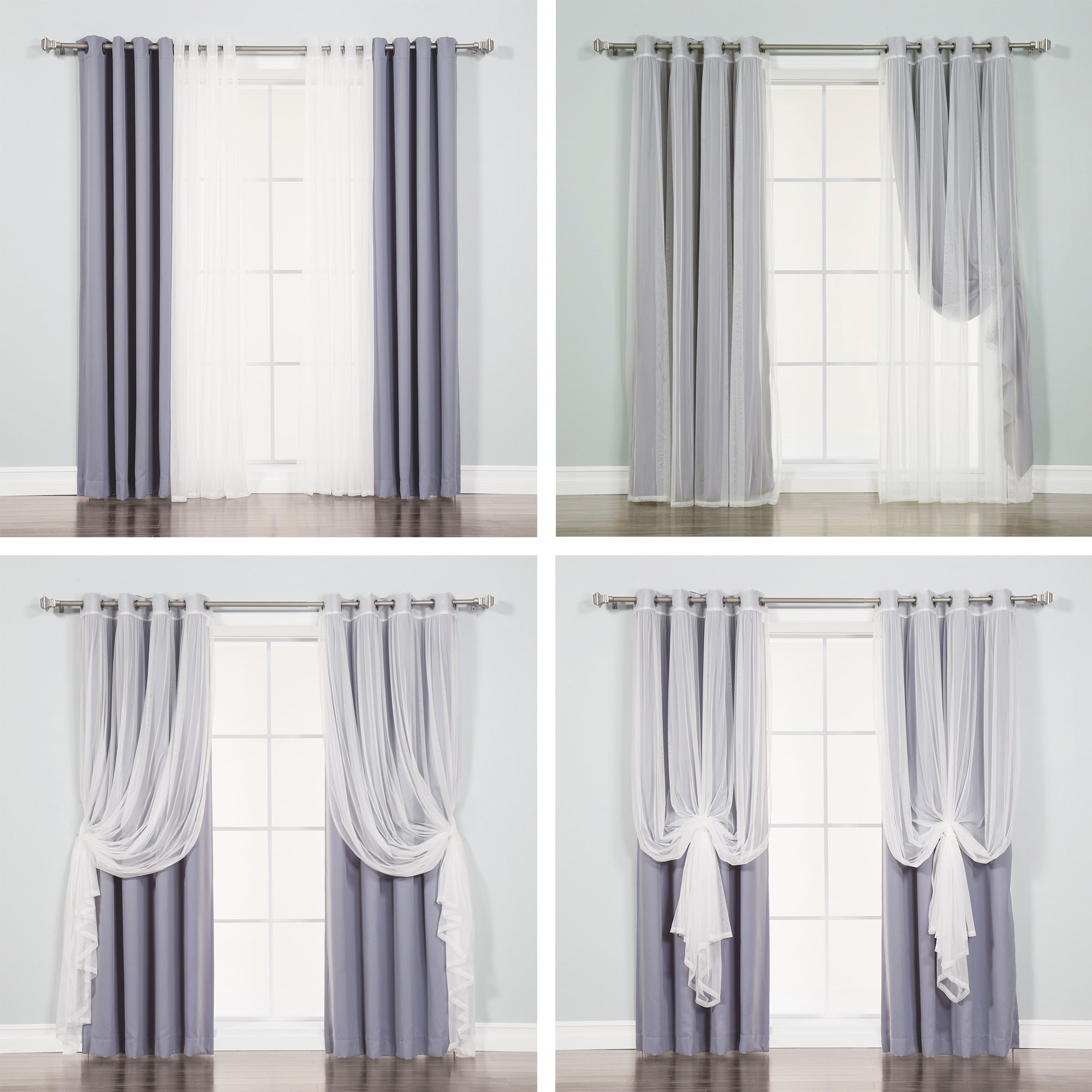 Aurora Home Mix & Match Tulle Sheer With Attached Valance And Blackout 4 Piece Curtain Panel Pair Intended For Tulle Sheer With Attached Valance And Blackout 4 Piece Curtain Panel Pairs (View 4 of 30)