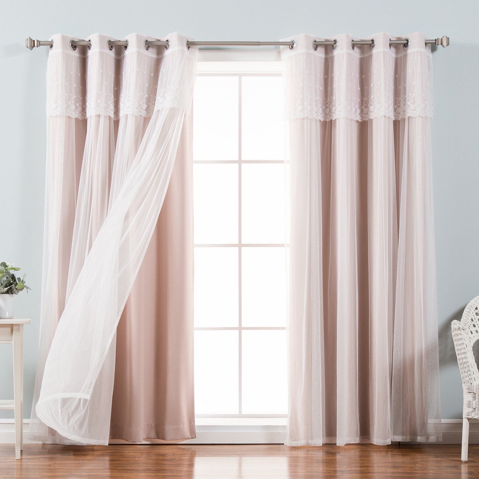Aurora Home Mix & Match Tulle Sheer With Attached Valance And Blackout 4 Piece Curtain Panel Pair Pertaining To Tulle Sheer With Attached Valance And Blackout 4 Piece Curtain Panel Pairs (View 6 of 30)