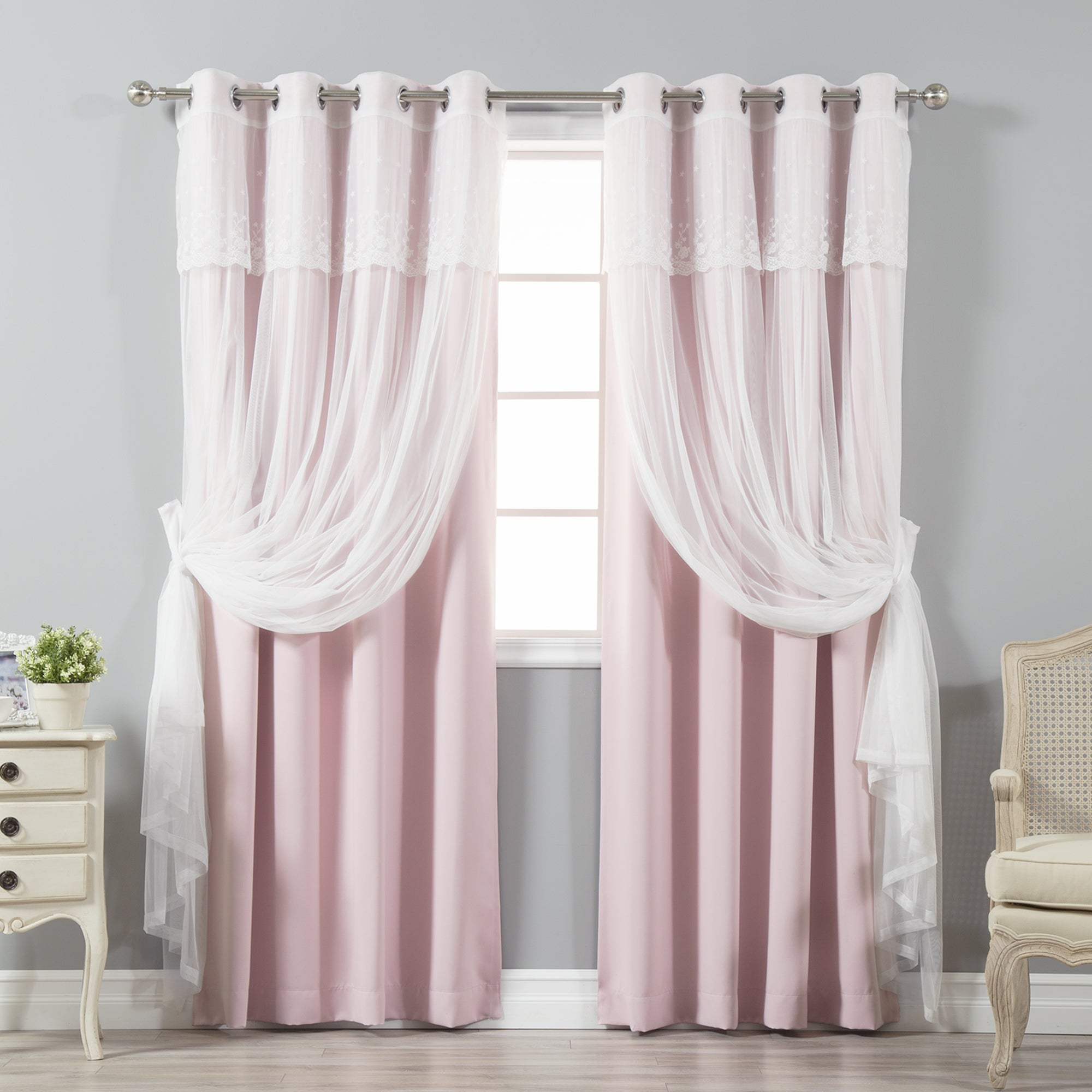 Aurora Home Mix & Match Tulle Sheer With Attached Valance And Blackout 4 Piece Curtain Panel Pair Throughout Tulle Sheer With Attached Valance And Blackout 4 Piece Curtain Panel Pairs (View 3 of 30)