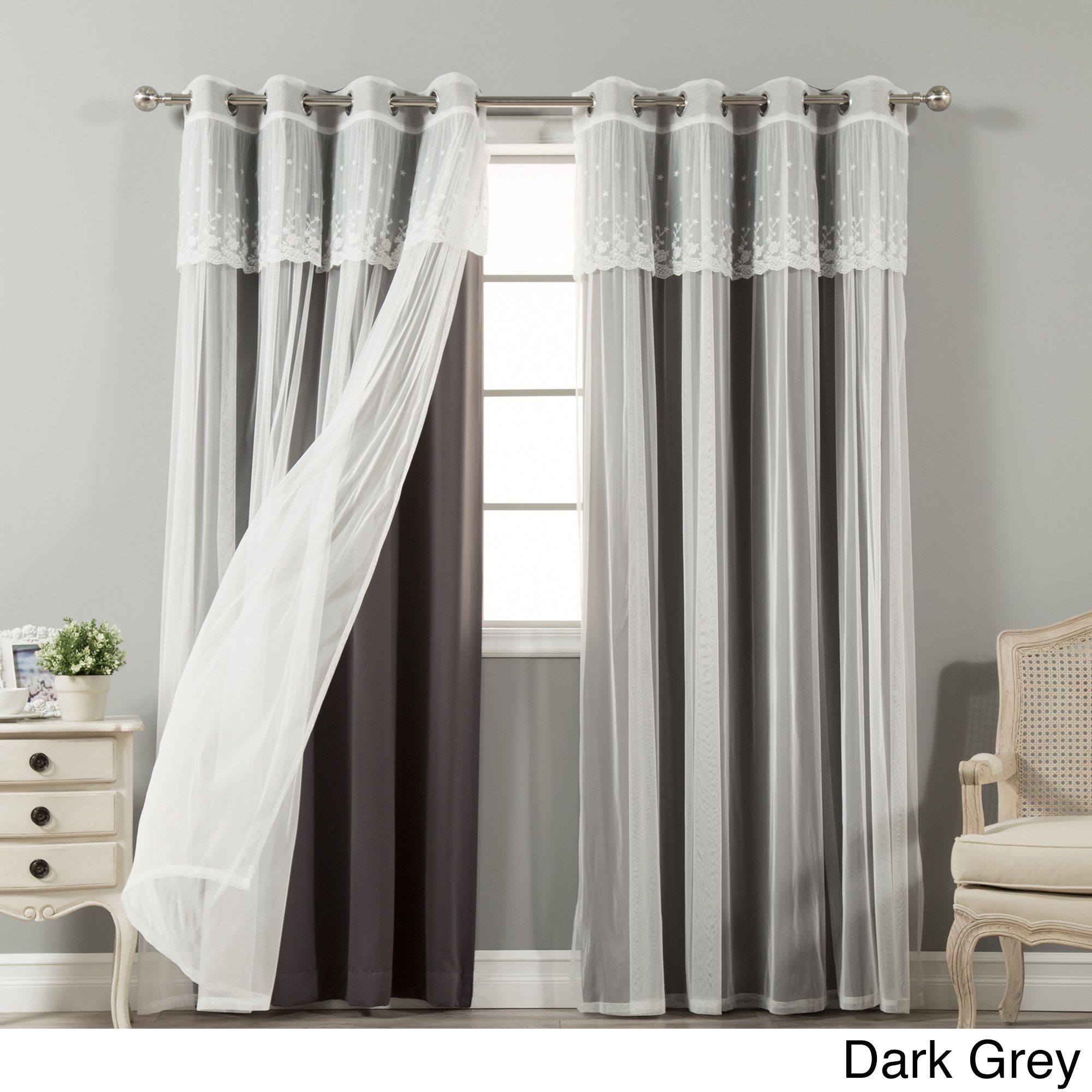 Aurora Home Mix & Match Tulle Sheer With Attached Valance For Tulle Sheer With Attached Valance And Blackout 4 Piece Curtain Panel Pairs (View 2 of 30)