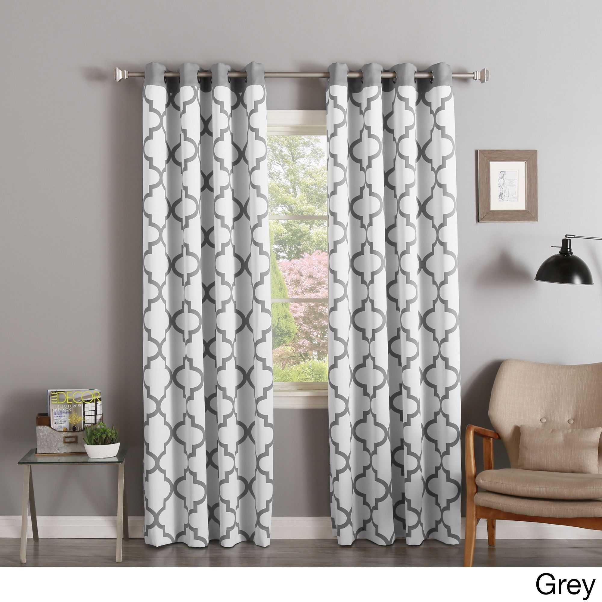 Aurora Home Moroccan Tile Print Room Darkening Grommet Top Throughout Edward Moroccan Pattern Room Darkening Curtain Panel Pairs (View 9 of 20)