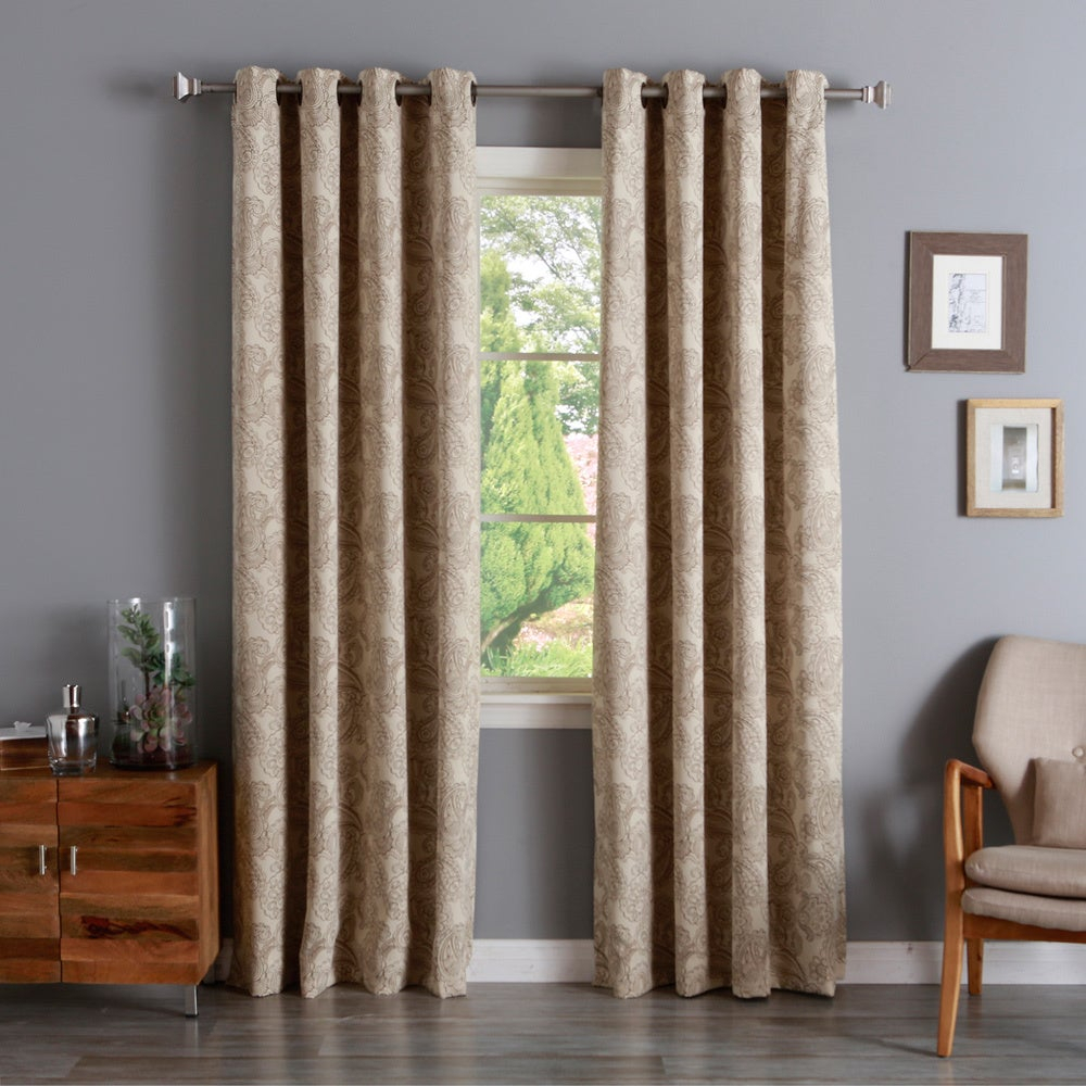 Aurora Home Paisley Stitch Printed Blackout Grommet Top Curtain Panel Pair Throughout Luxury Collection Faux Leather Blackout Single Curtain Panels (View 9 of 20)
