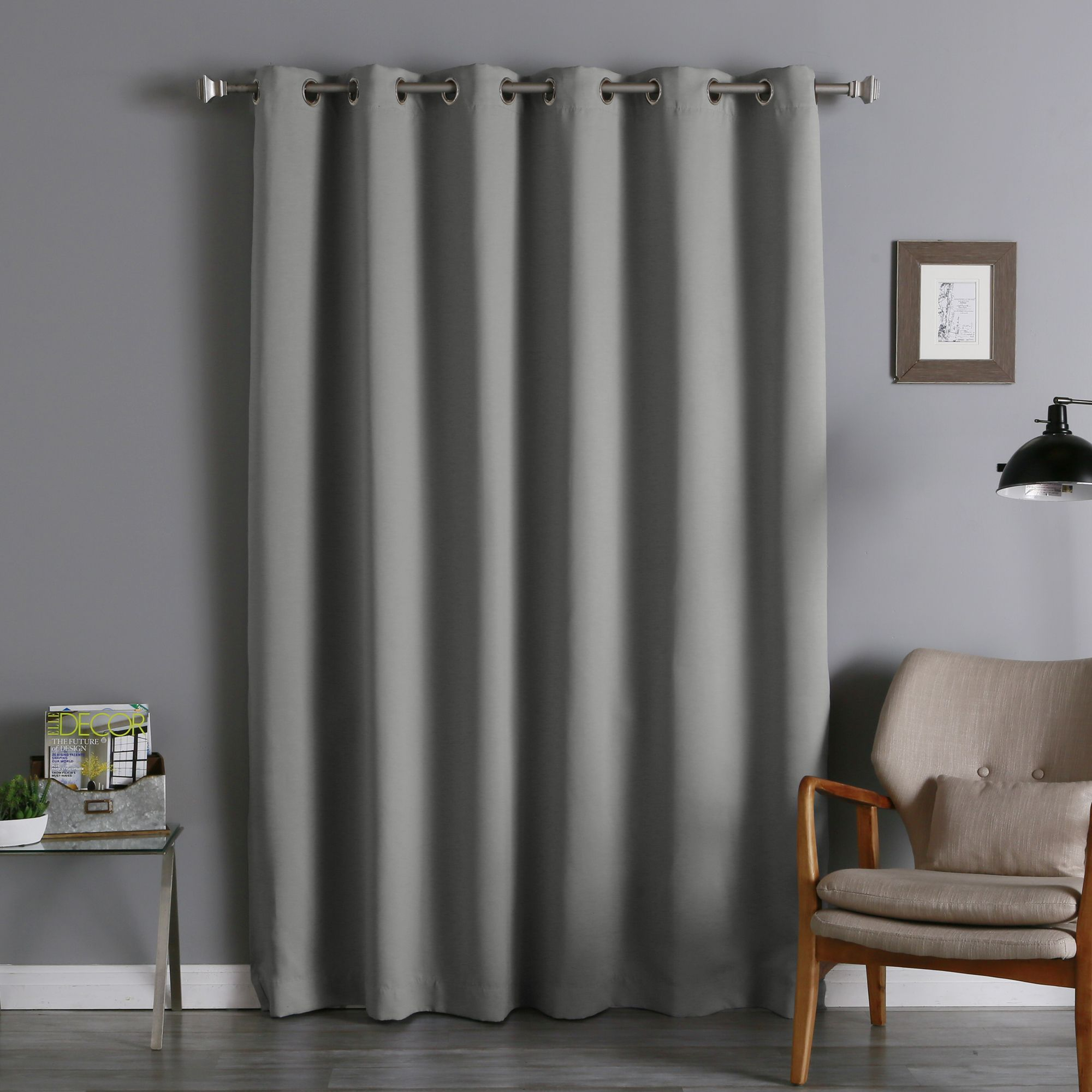 Aurora Home Silver Grommet Top Wide Width Thermal Insulated Throughout Silvertone Grommet Thermal Insulated Blackout Curtain Panel Pairs (View 4 of 30)