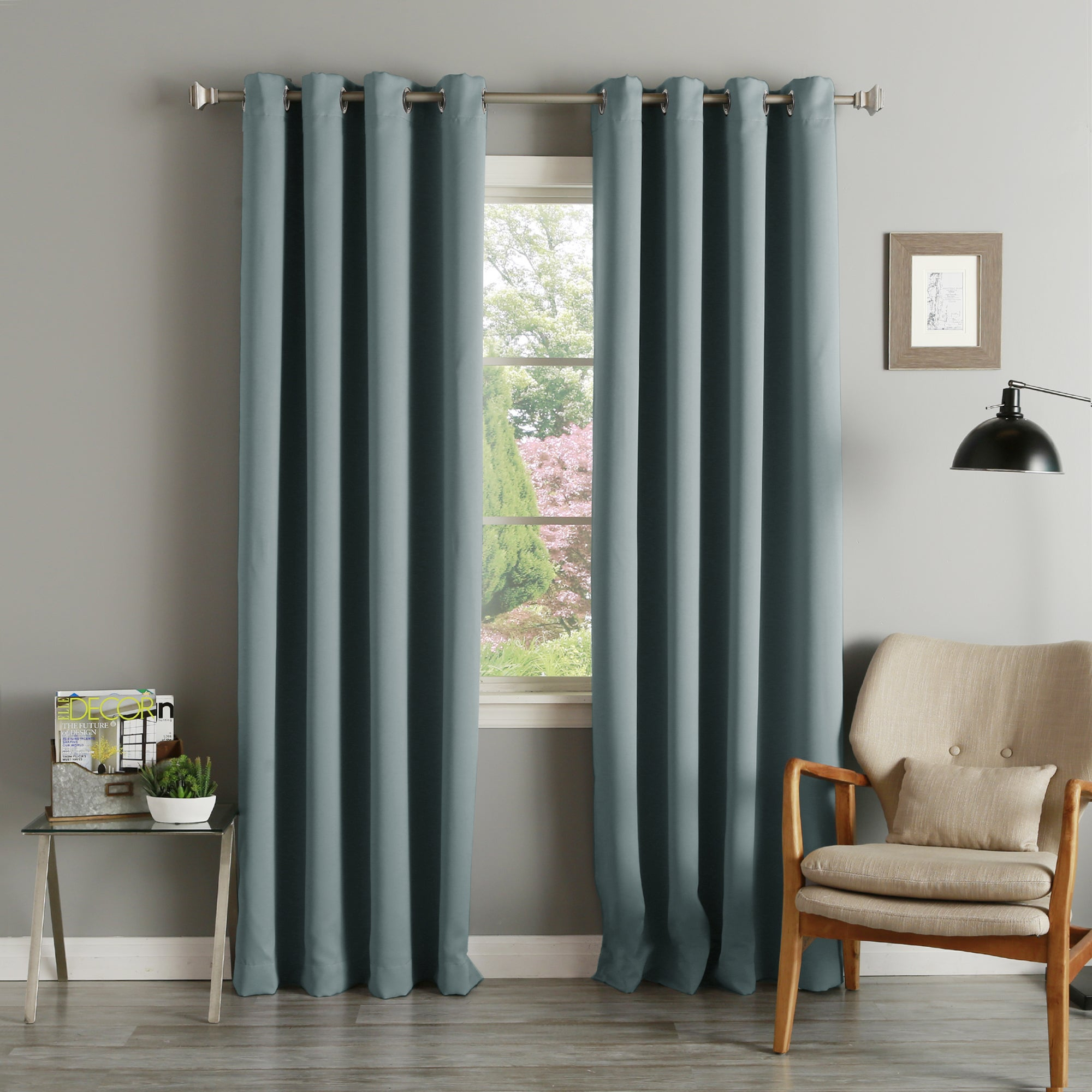 Aurora Home Silvertone Grommet Thermal Insulated Blackout Curtain Panel Pair With Silvertone Grommet Thermal Insulated Blackout Curtain Panel Pairs (View 2 of 30)