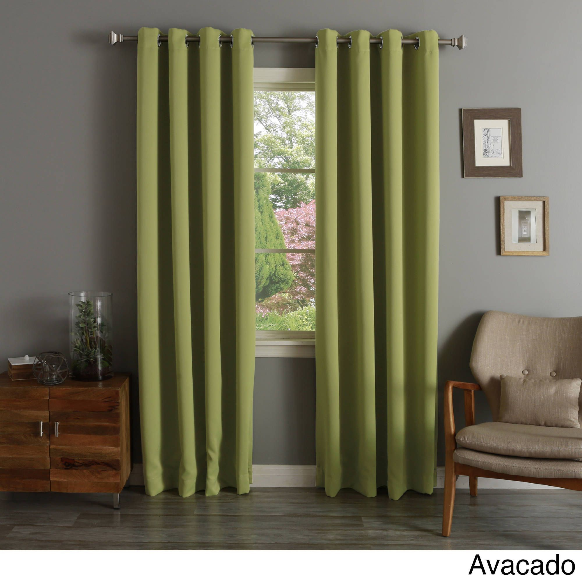 Aurora Home Silvertone Grommet Top Thermal Insulated With Silvertone Grommet Thermal Insulated Blackout Curtain Panel Pairs (View 14 of 30)