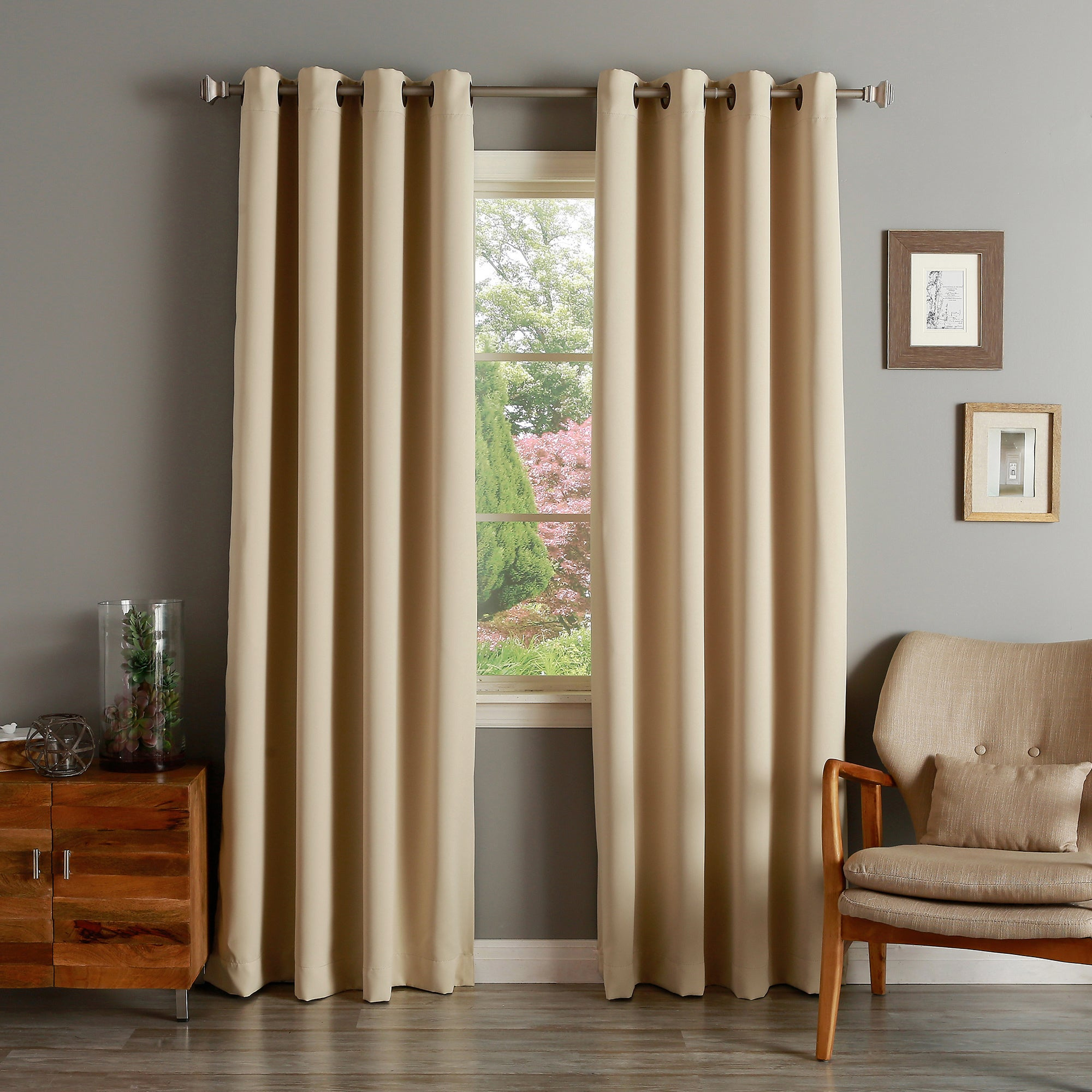 Aurora Home Solid Grommet Top Thermal Insulated 108 Inch Blackout Curtain Panel Pair Inside Insulated Grommet Blackout Curtain Panel Pairs (View 4 of 20)