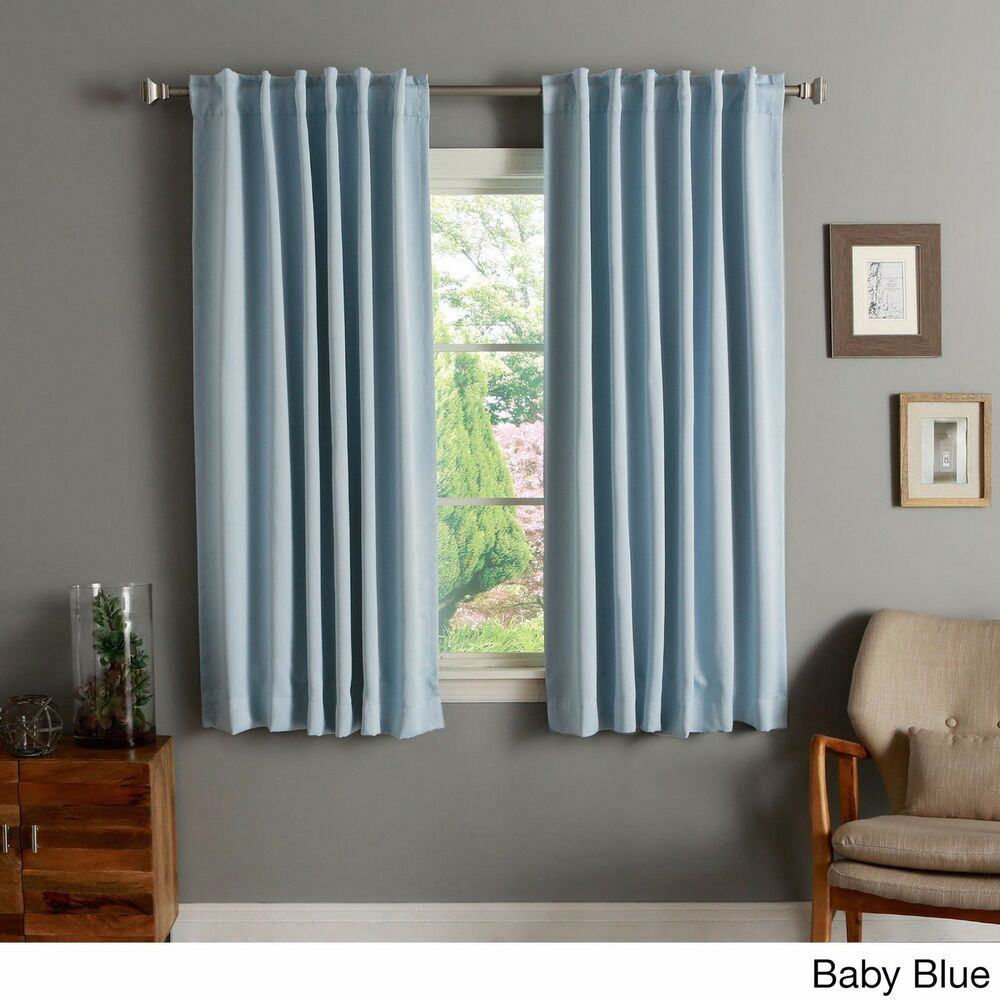 Aurora Home Solid Insulated Thermal 63 Inch Blackout Curtain Panel Pair | Ebay Intended For Solid Thermal Insulated Blackout Curtain Panel Pairs (View 7 of 30)