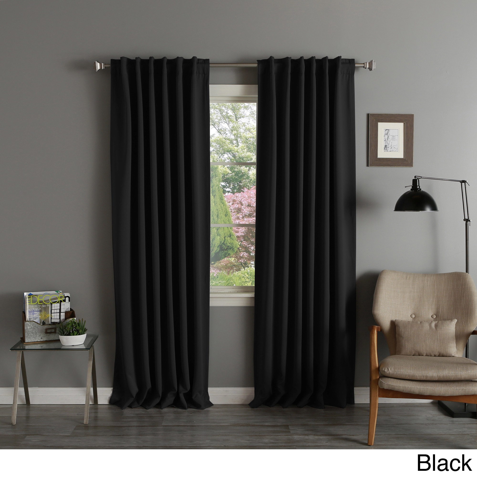 Aurora Home Solid Insulated Thermal Blackout Curtain Panel Intended For Solid Thermal Insulated Blackout Curtain Panel Pairs (View 6 of 30)