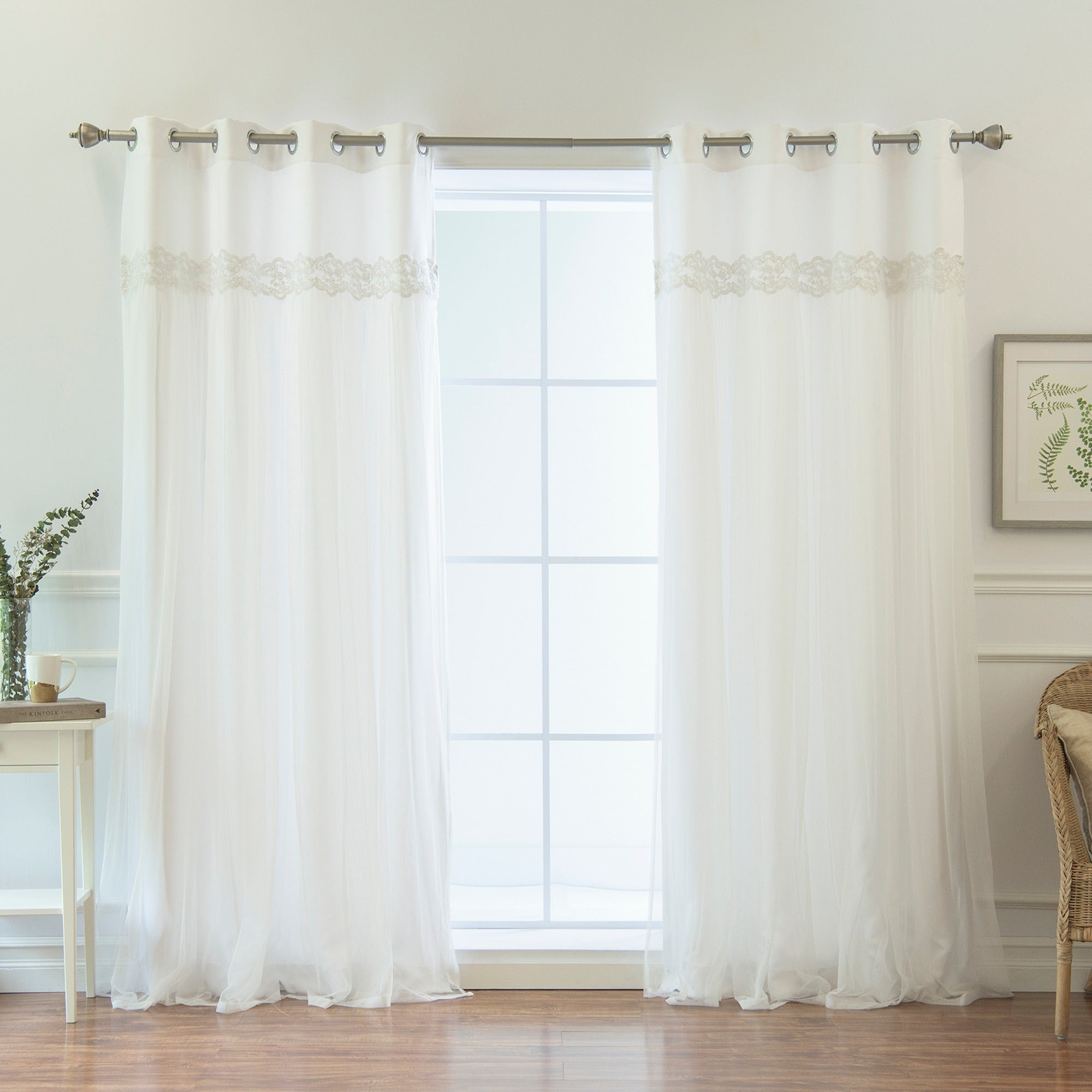 Aurora Home Solid White Lace Overlay Grommet Top Curtain Panel Pair – 52 X 84 Inside Solid Grommet Top Curtain Panel Pairs (View 6 of 30)