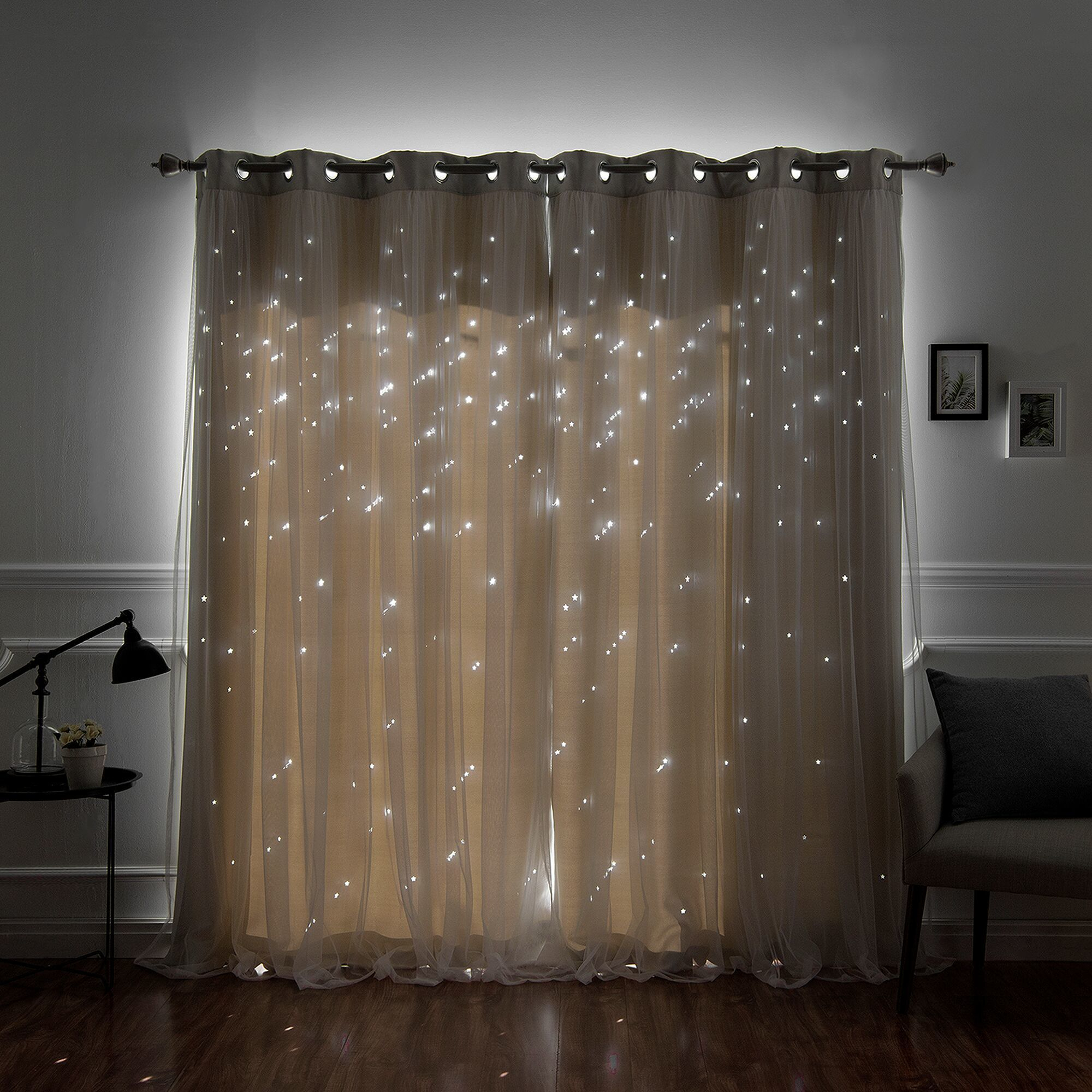 Aurora Home Star Punch Tulle Overlay Blackout Curtain Panel Pair In Star Punch Tulle Overlay Blackout Curtain Panel Pairs (View 2 of 30)