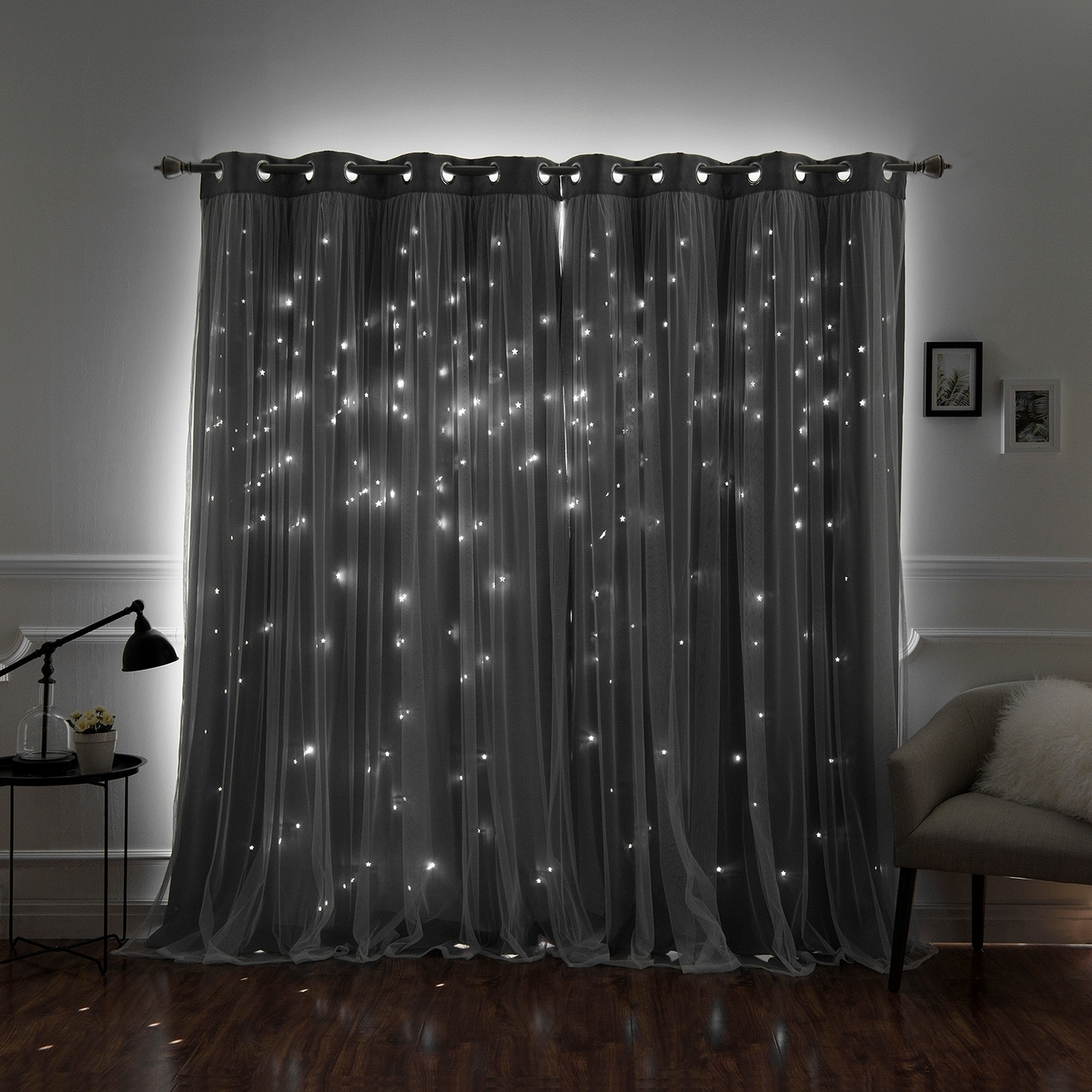 Featured Photo of Star Punch Tulle Overlay Blackout Curtain Panel Pairs