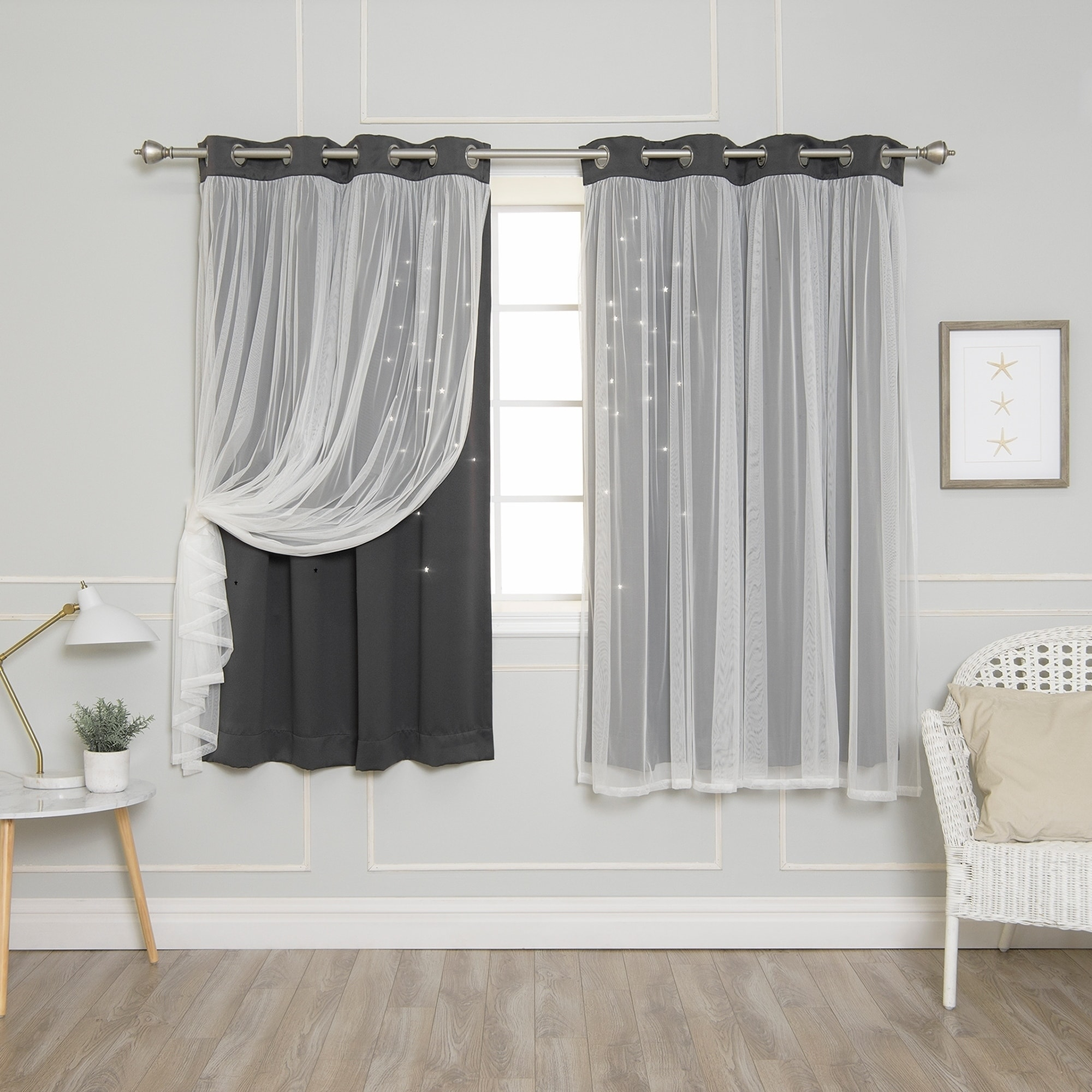 Aurora Home Star Punch Tulle Overlay Blackout Curtains (63 Within Star Punch Tulle Overlay Blackout Curtain Panel Pairs (View 5 of 30)
