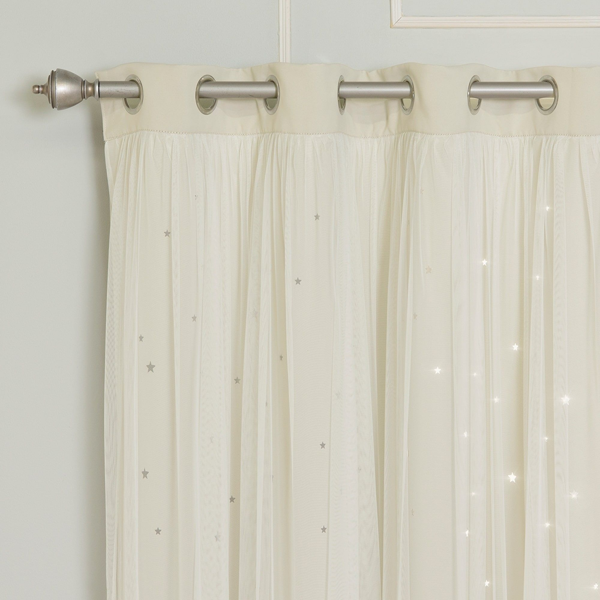 Aurora Home Star Punch Tulle Overlay Blackout Curtains – N/a Intended For Star Punch Tulle Overlay Blackout Curtain Panel Pairs (View 8 of 30)