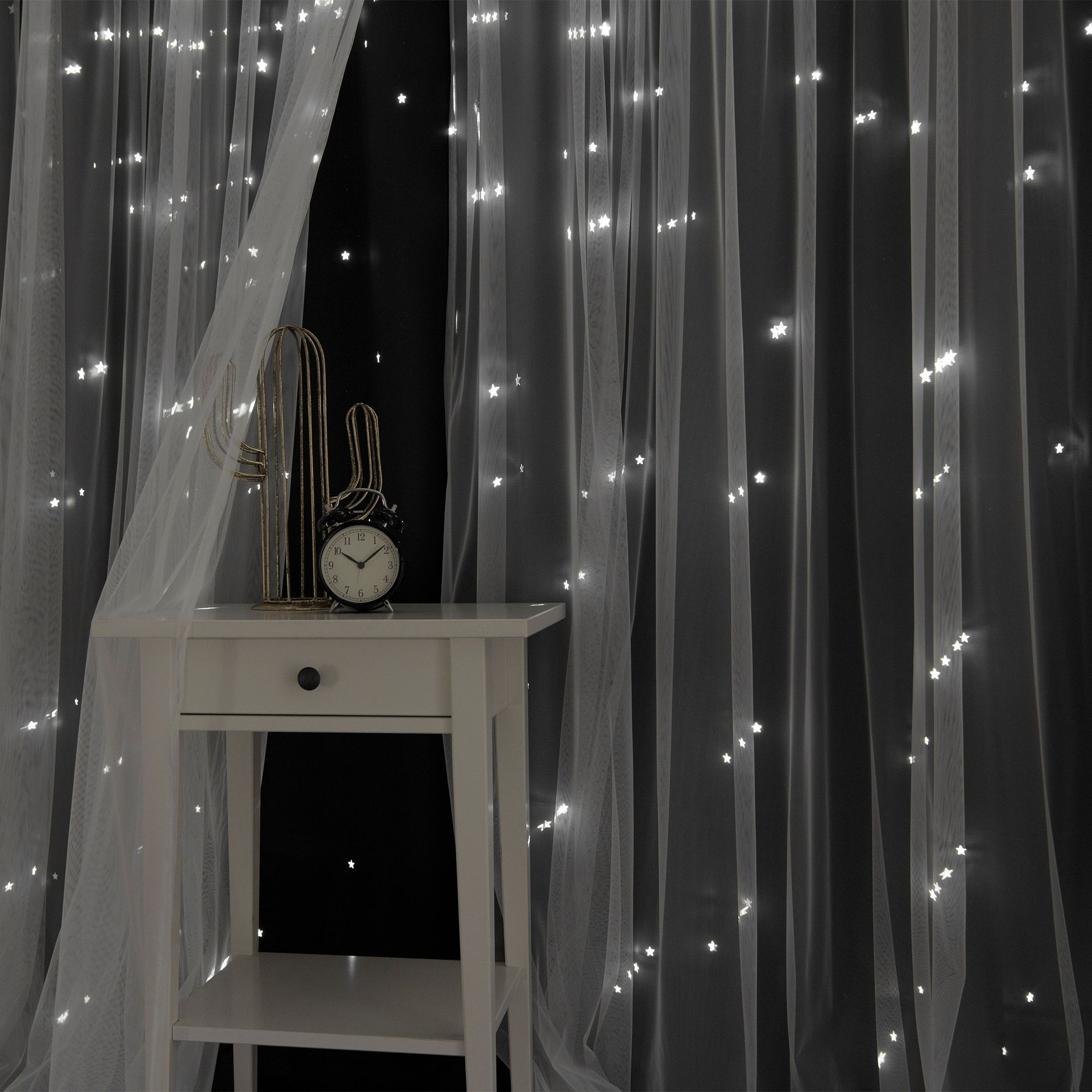 Aurora Home Star Punch Tulle Overlay Blackout Curtains – N/a With Regard To Star Punch Tulle Overlay Blackout Curtain Panel Pairs (View 13 of 30)