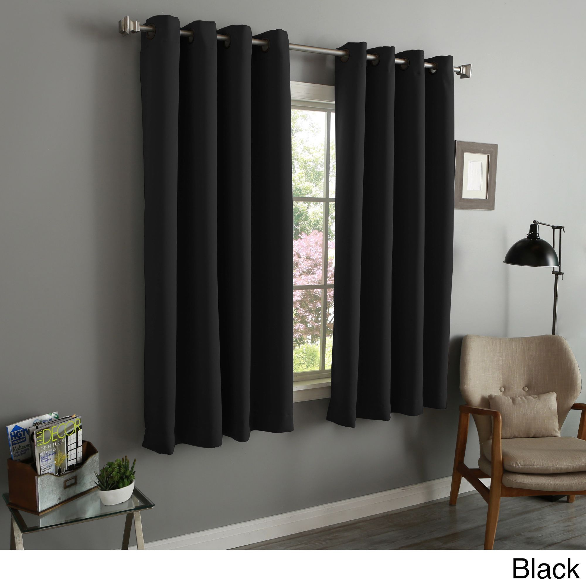 Aurora Home Thermal Insulated Blackout 54 Inch Grommet Top With Regard To Superior Solid Insulated Thermal Blackout Grommet Curtain Panel Pairs (View 3 of 30)