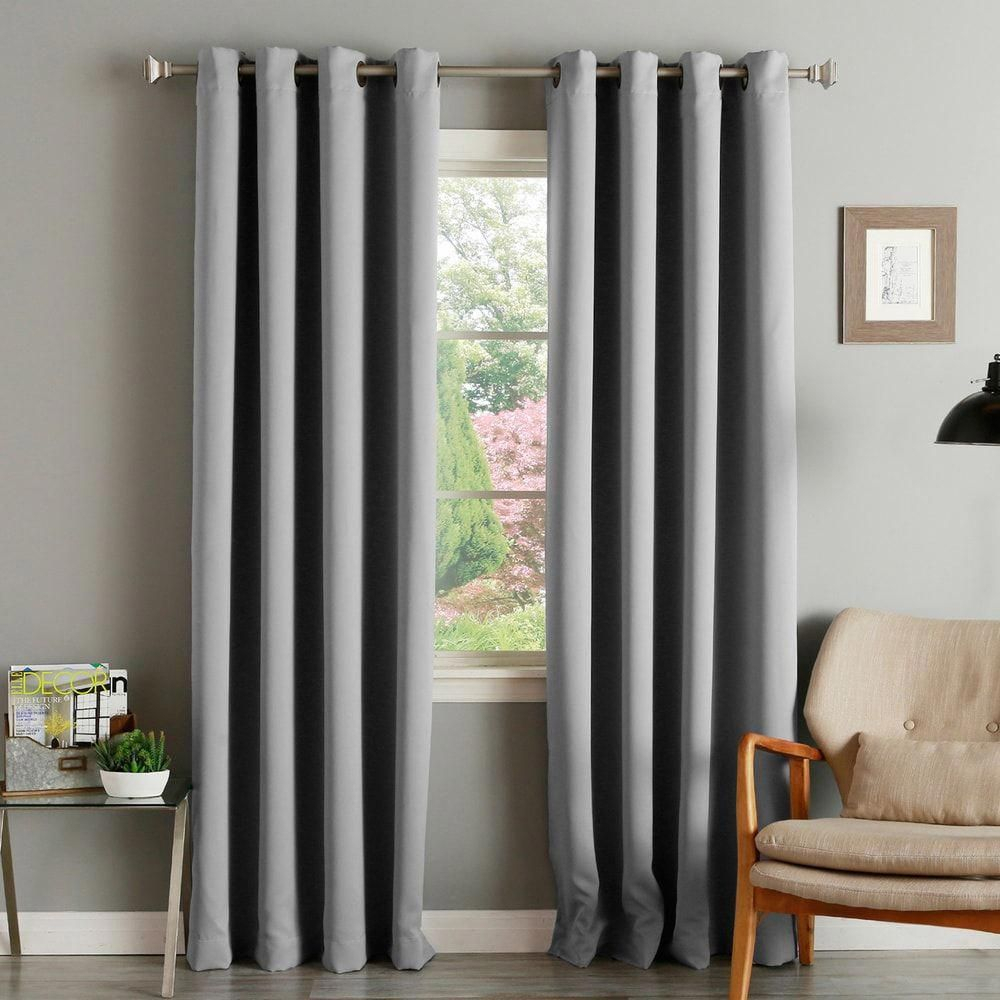 Aurora Home Thermal Insulated Blackout Grommet Top Curtain With Regard To Silvertone Grommet Thermal Insulated Blackout Curtain Panel Pairs (View 15 of 30)