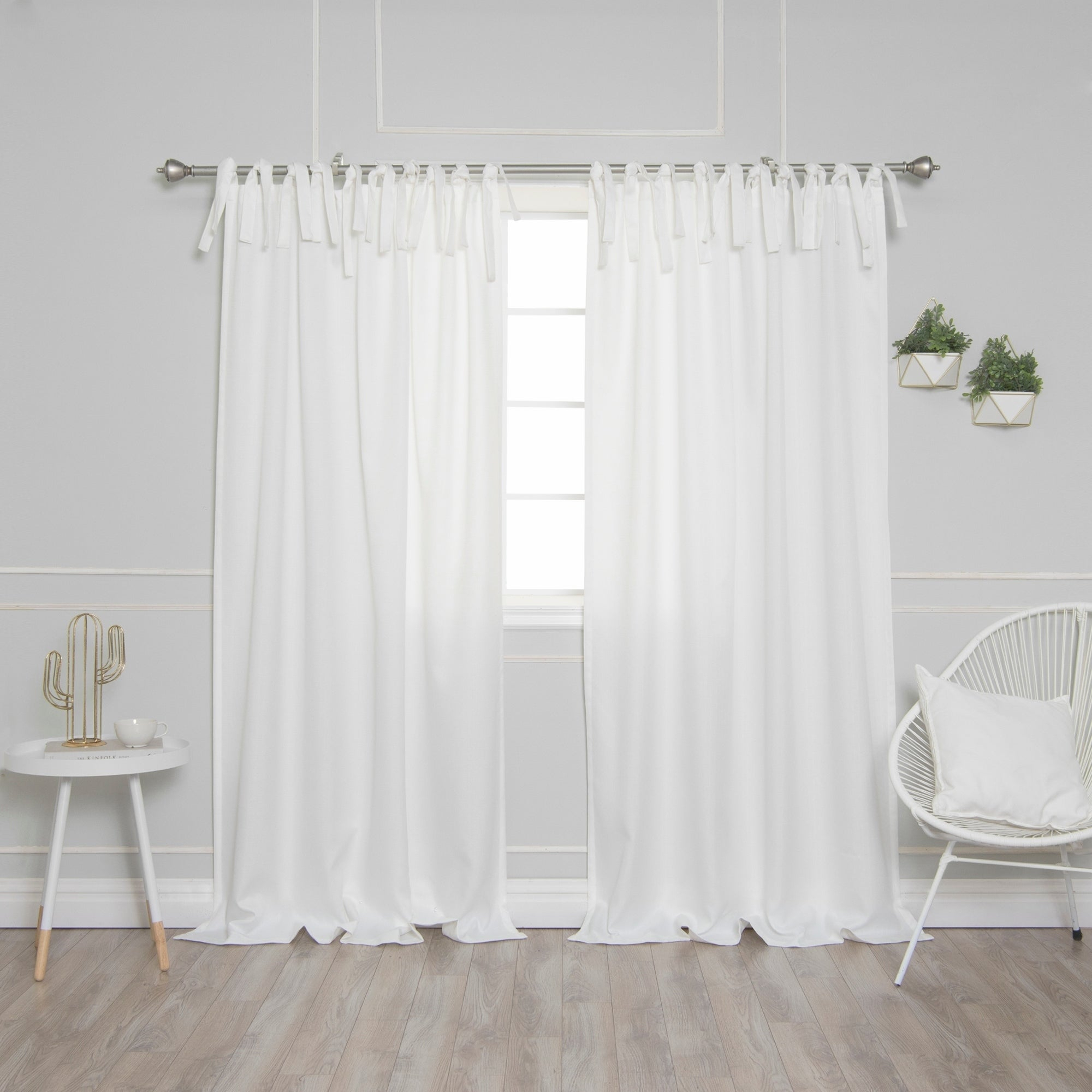Aurora Home Tie Top Oxford Curtain Panel Pair Pertaining To Elrene Jolie Tie Top Curtain Panels (View 11 of 20)