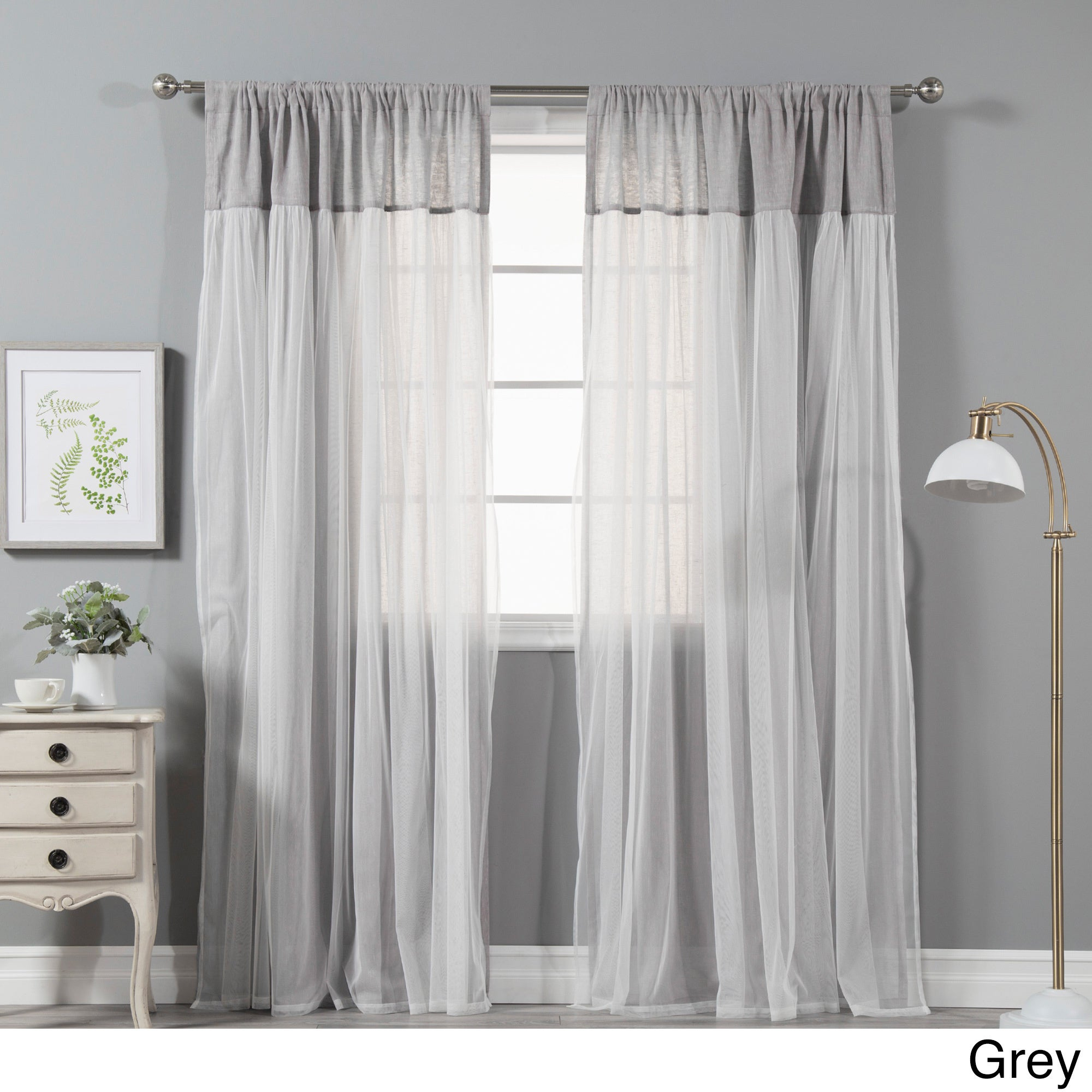 Aurora Home Tulle Overlay Pippin Faux Linen 84 Inch Curtain Panel Pair – 52 X 84 With Star Punch Tulle Overlay Blackout Curtain Panel Pairs (View 15 of 30)