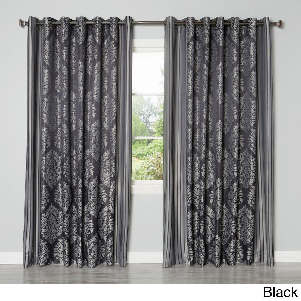 Aurora Home Wide Width Damask Jacquard Grommet 84 Inch Within Whitman Curtain Panel Pairs (View 14 of 30)