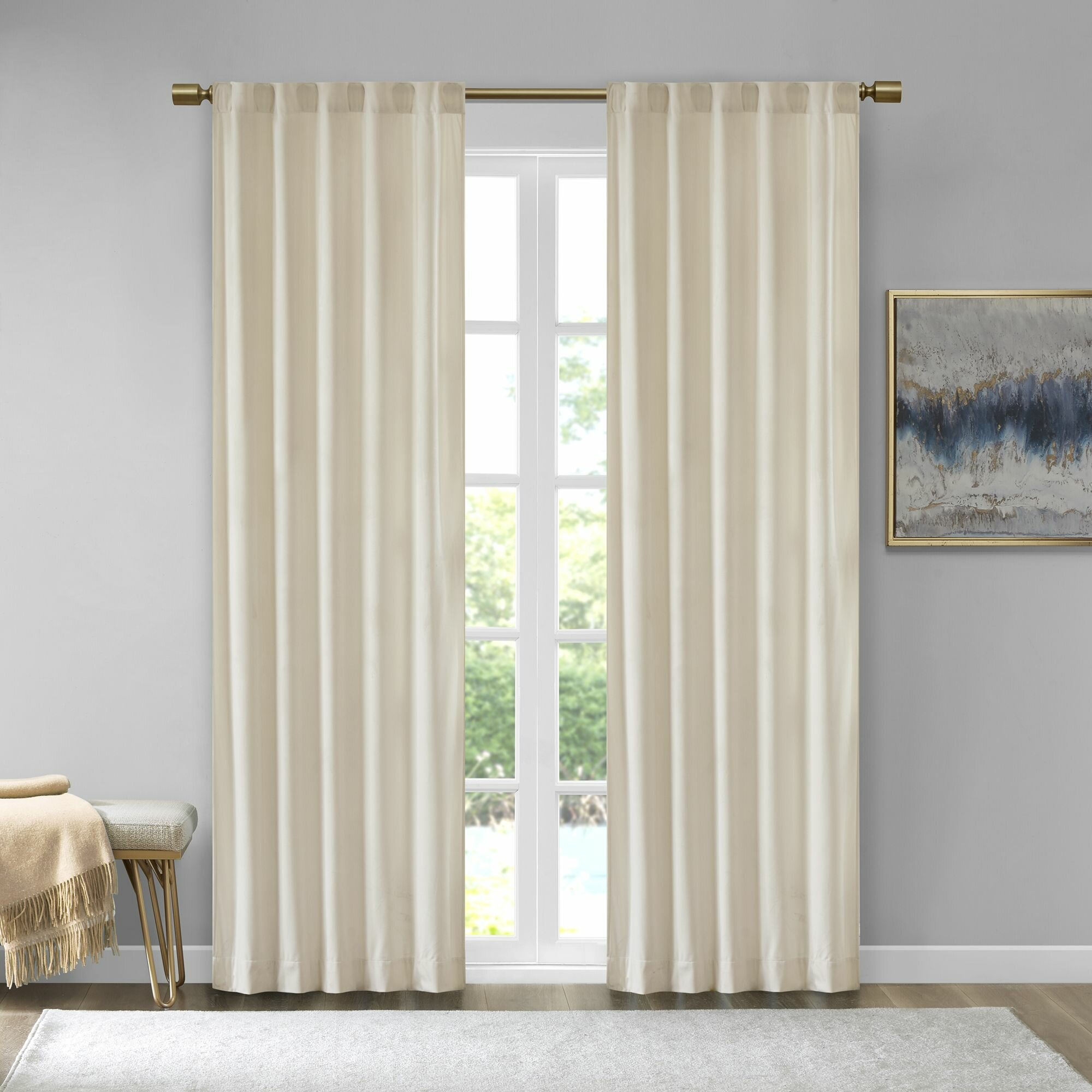 Aurora Poly Velvet Solid Room Darkening Rod Pocket/tab Top Curtain Panels With Regard To Knotted Tab Top Window Curtain Panel Pairs (View 18 of 20)