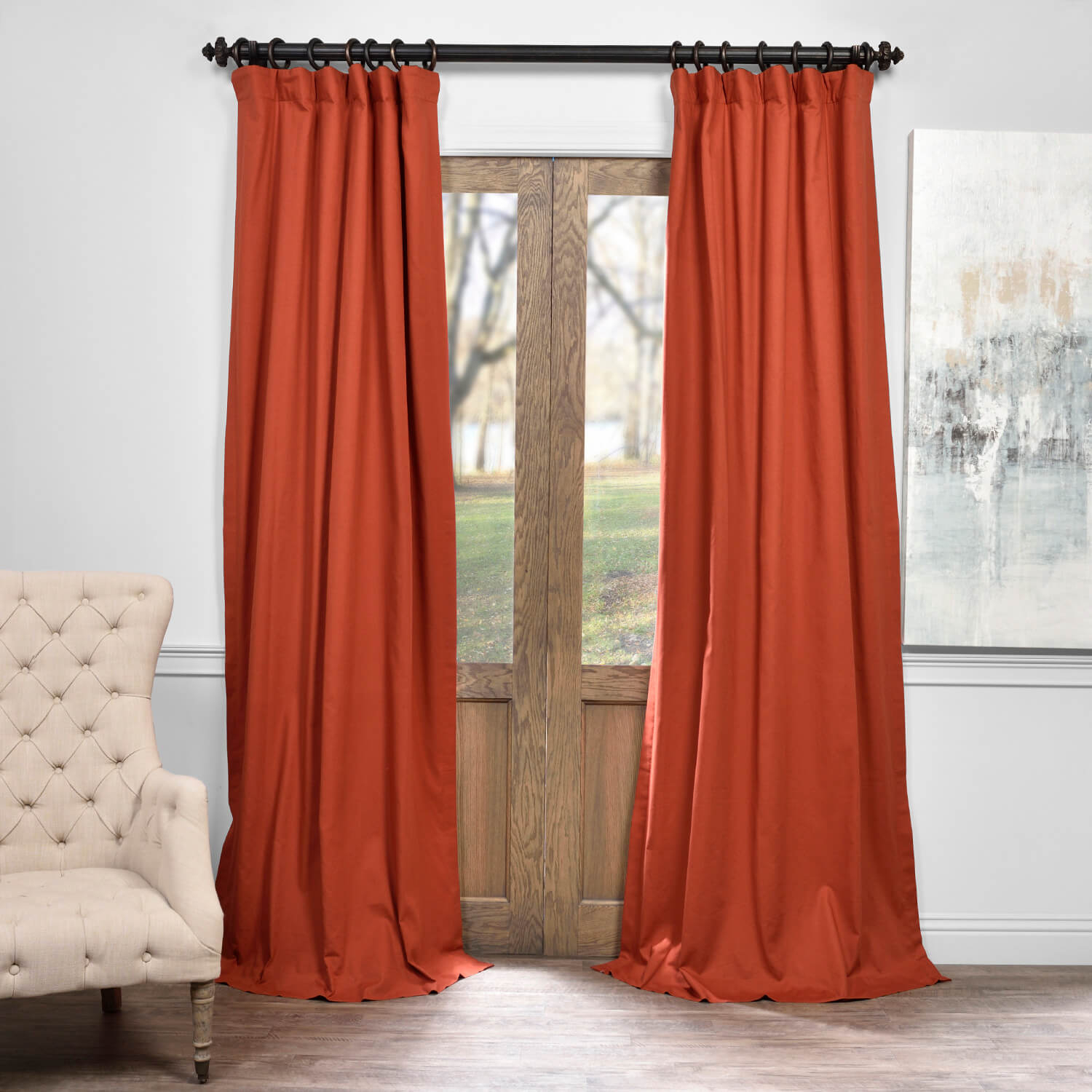 Autumn Rust Solid Cotton Blackout Curtain Within Signature Pinch Pleated Blackout Solid Velvet Curtain Panels (View 2 of 36)