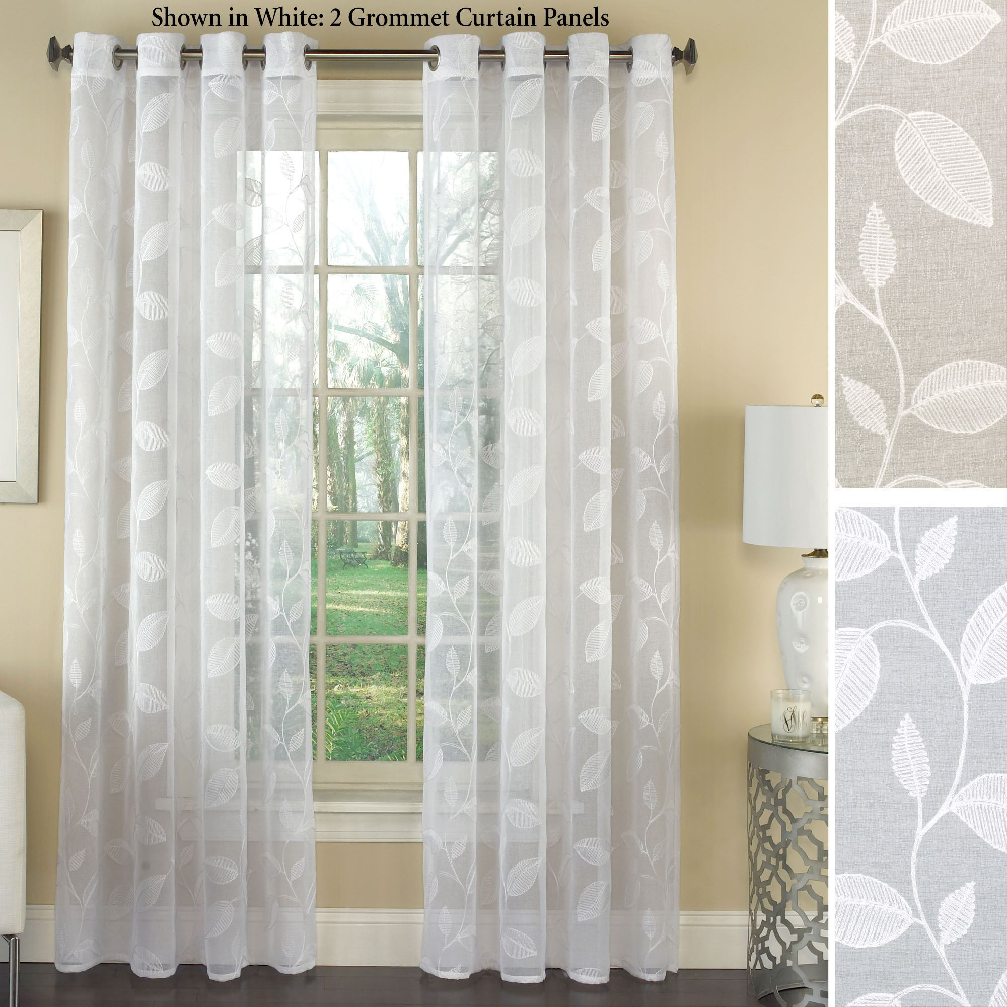 Avery Semi Sheer Embroidered Grommet Curtain Panels pertaining to Grommet Curtain Panels (Image 1 of 20)
