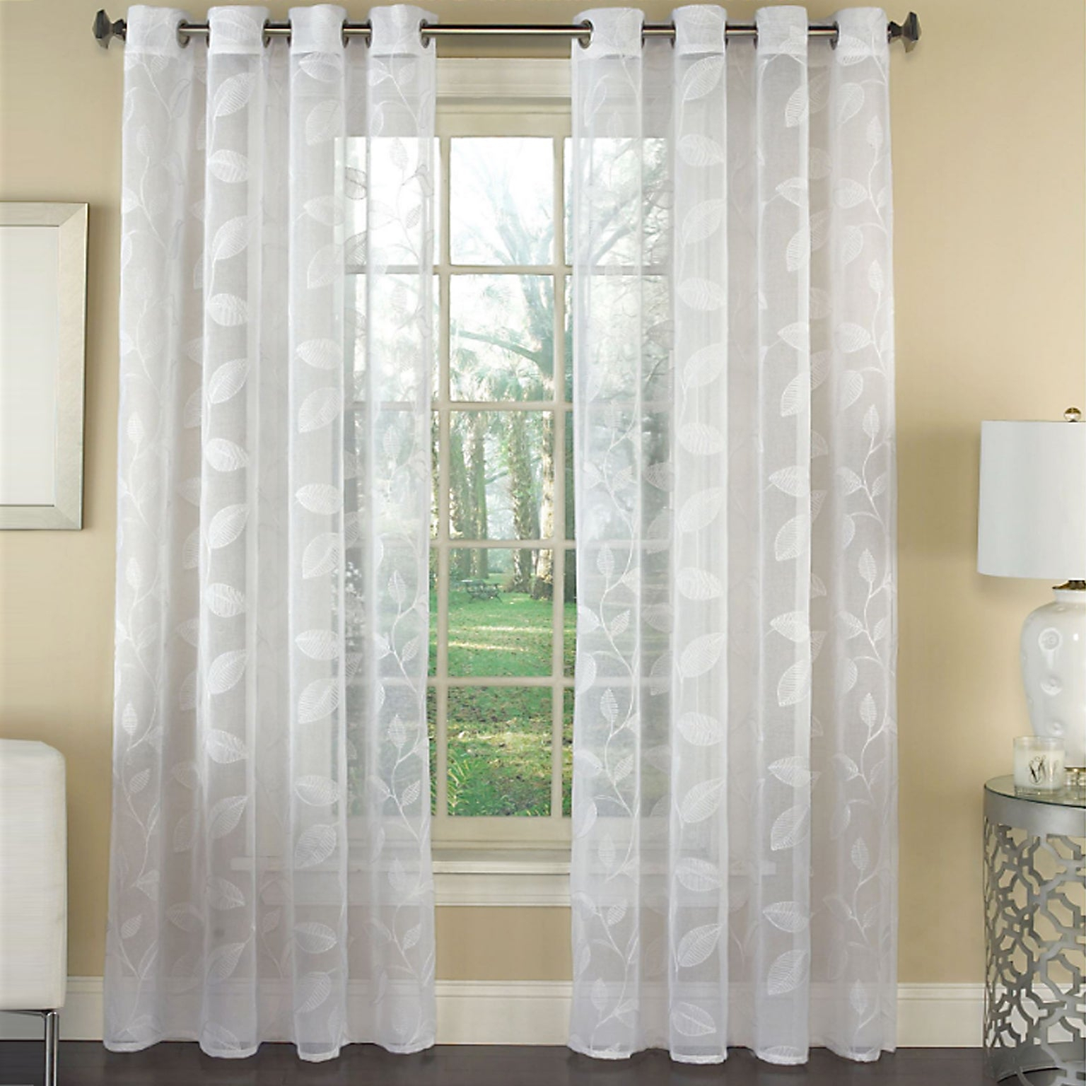 Avery Semi Sheer Embroidered Leaf Faux Linen Grommet Window Curtain Panel – 84x53 For Kida Embroidered Sheer Curtain Panels (View 3 of 20)