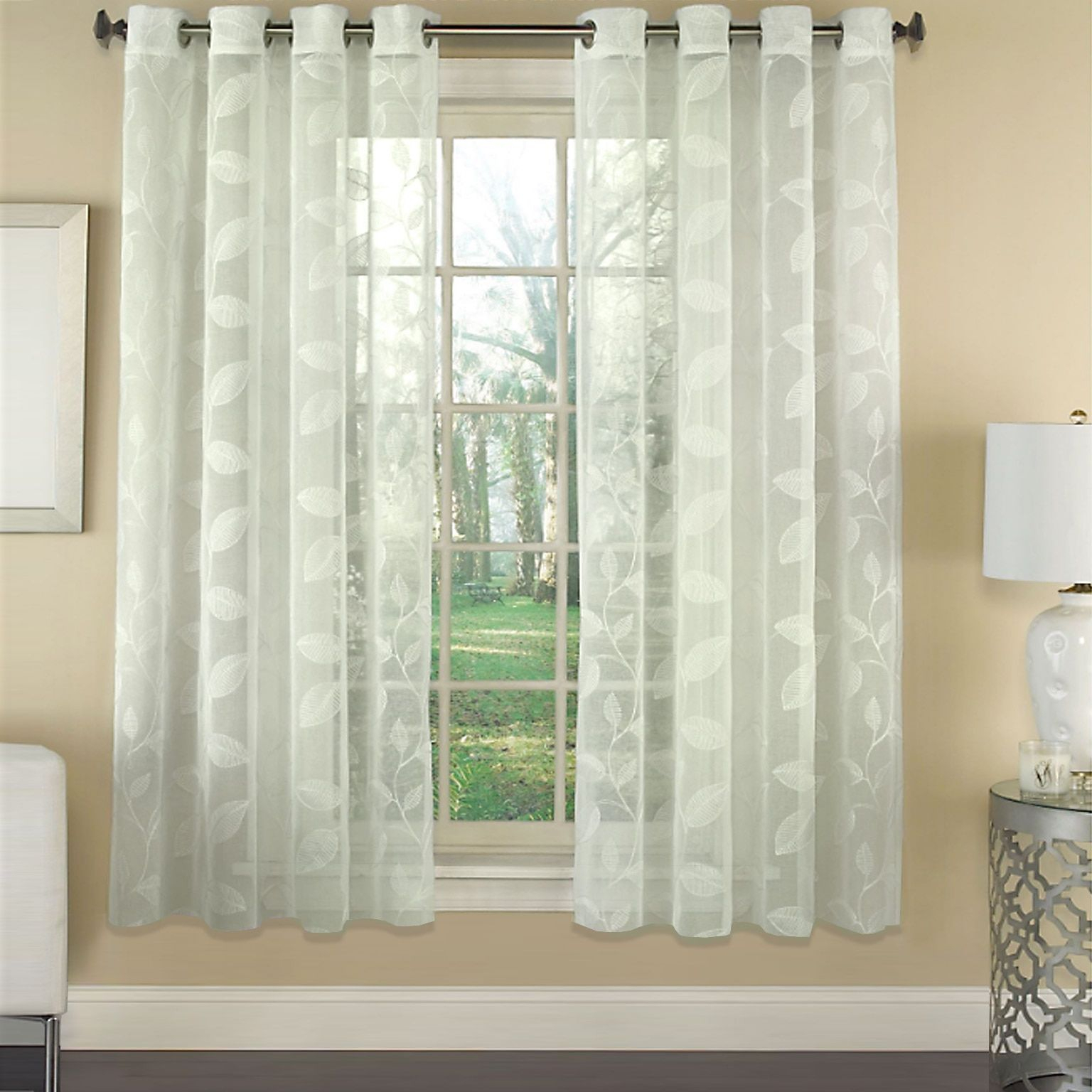 Avery Semi-Sheer Faux Linen Grommet Window Curtain Panel regarding Luxury Collection Venetian Sheer Curtain Panel Pairs (Image 4 of 20)