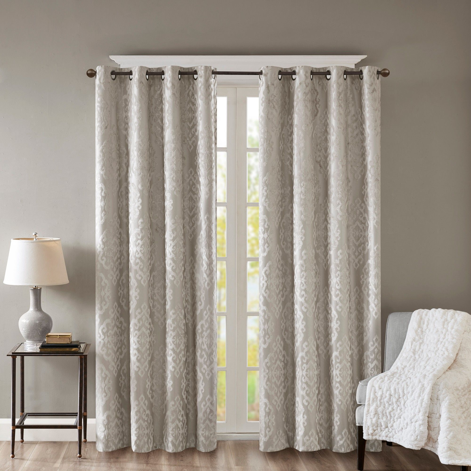 Azalea Knitted Jacquard Total Blackout Panel Gray 50x95 For Sunsmart Dahlia Paisley Printed Total Blackout Single Window Curtain Panels (View 6 of 30)