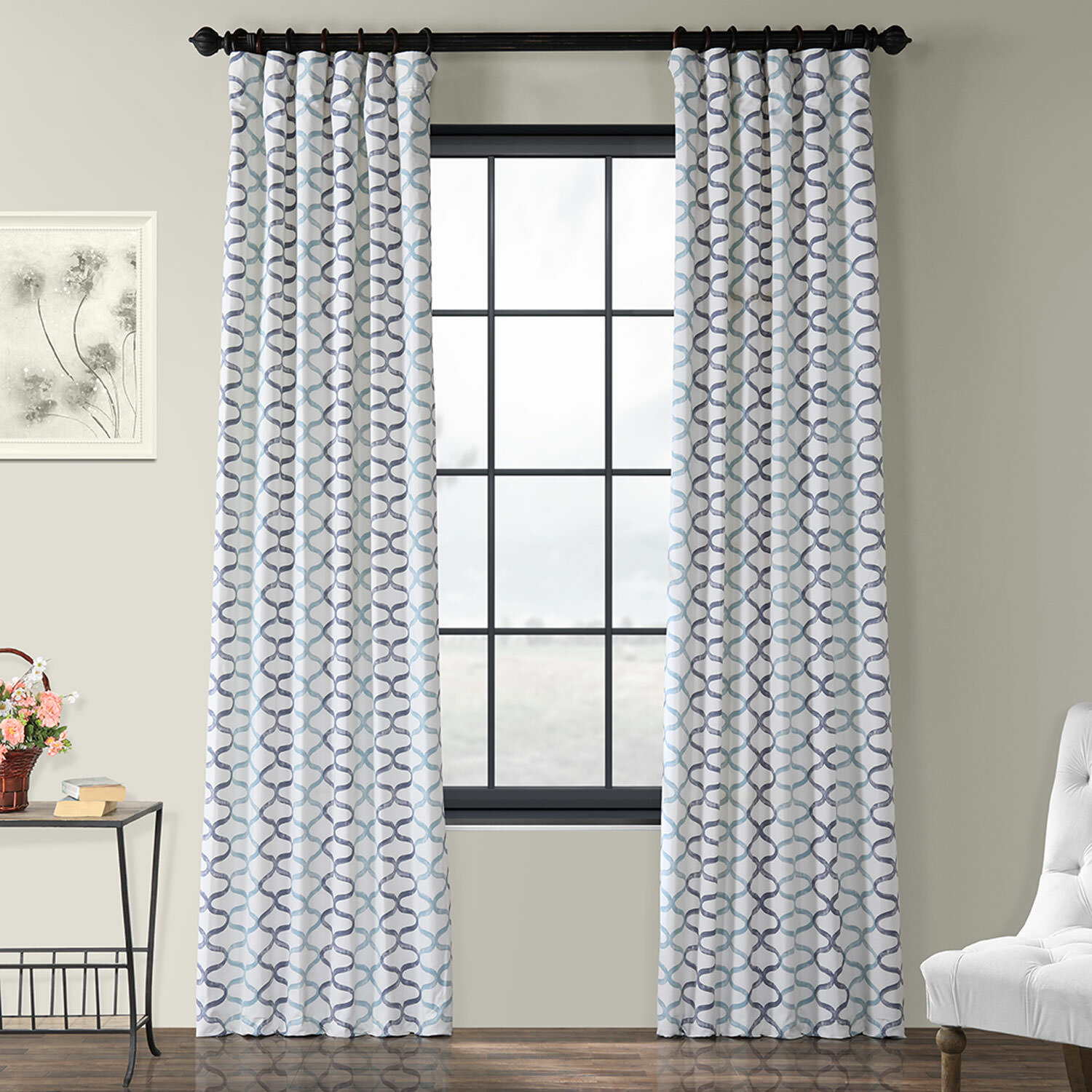 Balfour Graphic Printed Cotton Rod Pocket Single Curtain Panel For Fretwork Print Pattern Single Curtain Panels (View 18 of 20)