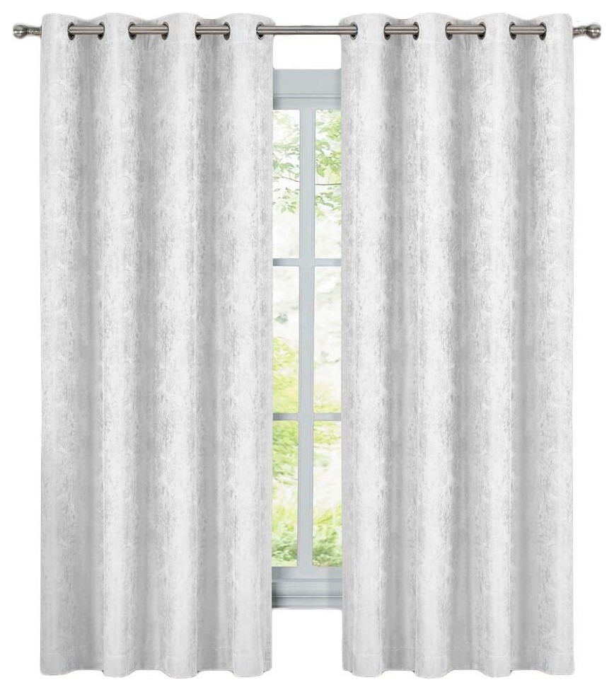 """Bali 2Pc Blackout Abstract Grommet Curtains, White, 108""""x63"""" Inside Abstract Blackout Curtain Panel Pairs (Image 1 of 22)"""