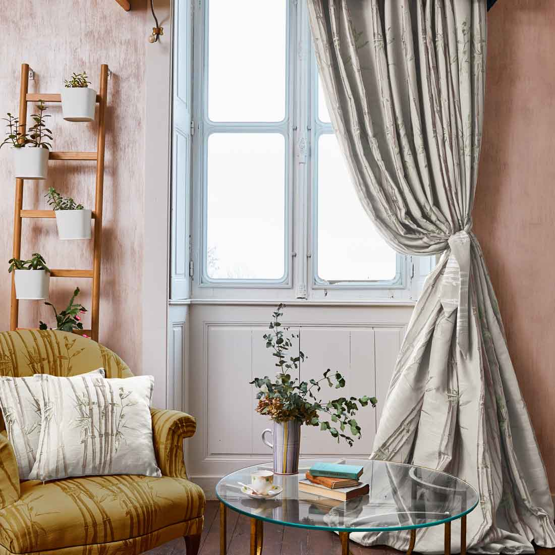 Bamboo Natural Pencil Pleat Curtains With Solid Cotton Pleated Curtains (View 2 of 30)