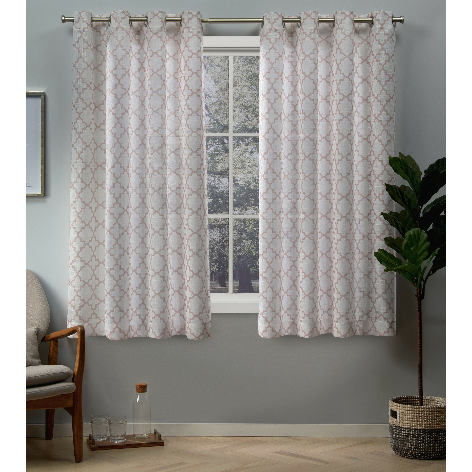 Barksdale Geometric Room Darkening Grommet Curtain Panels With Baroque Linen Grommet Top Curtain Panel Pairs (View 13 of 20)