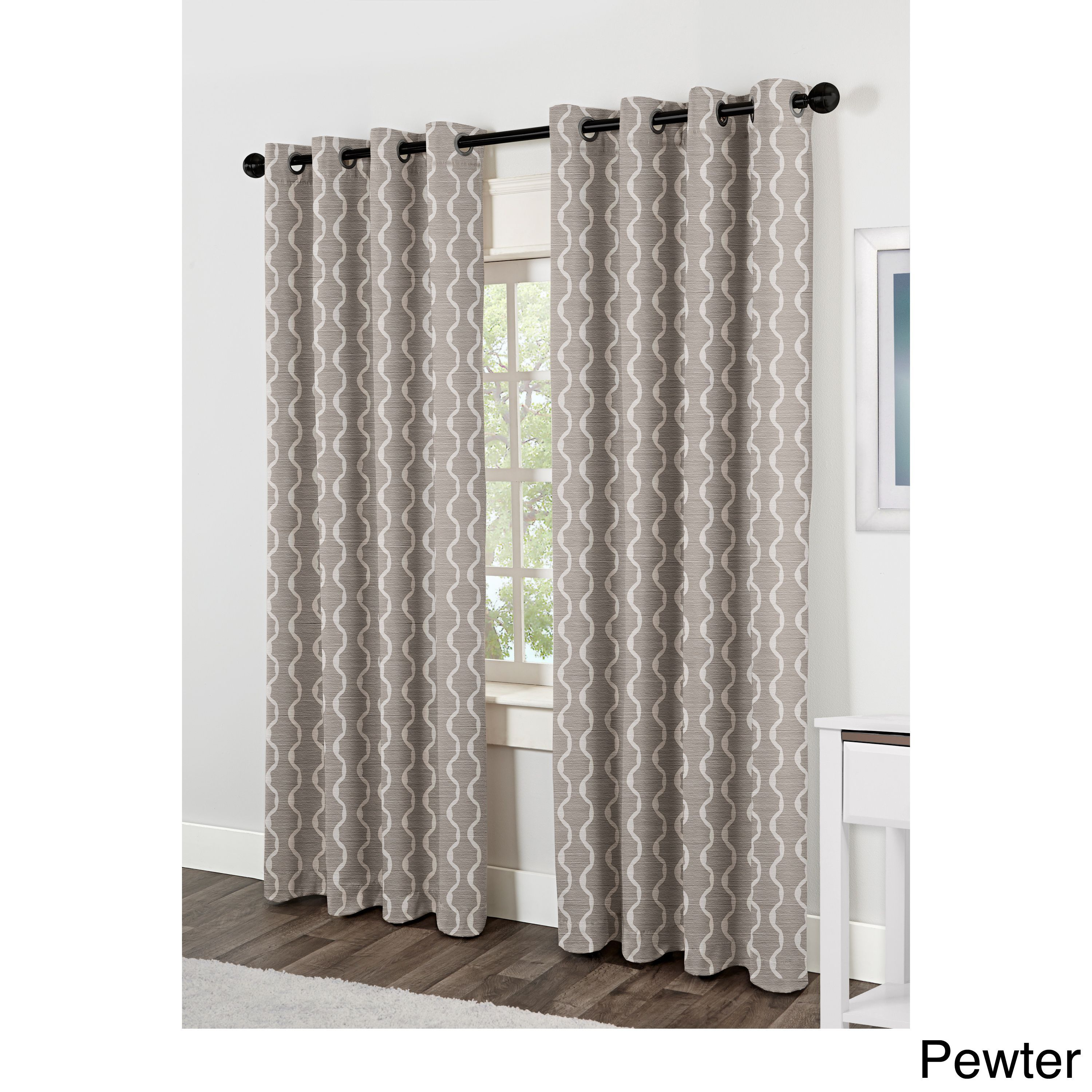 Baroque Grommet Top Curtain Panel Pair | Overstock Pertaining To Baroque Linen Grommet Top Curtain Panel Pairs (View 7 of 20)